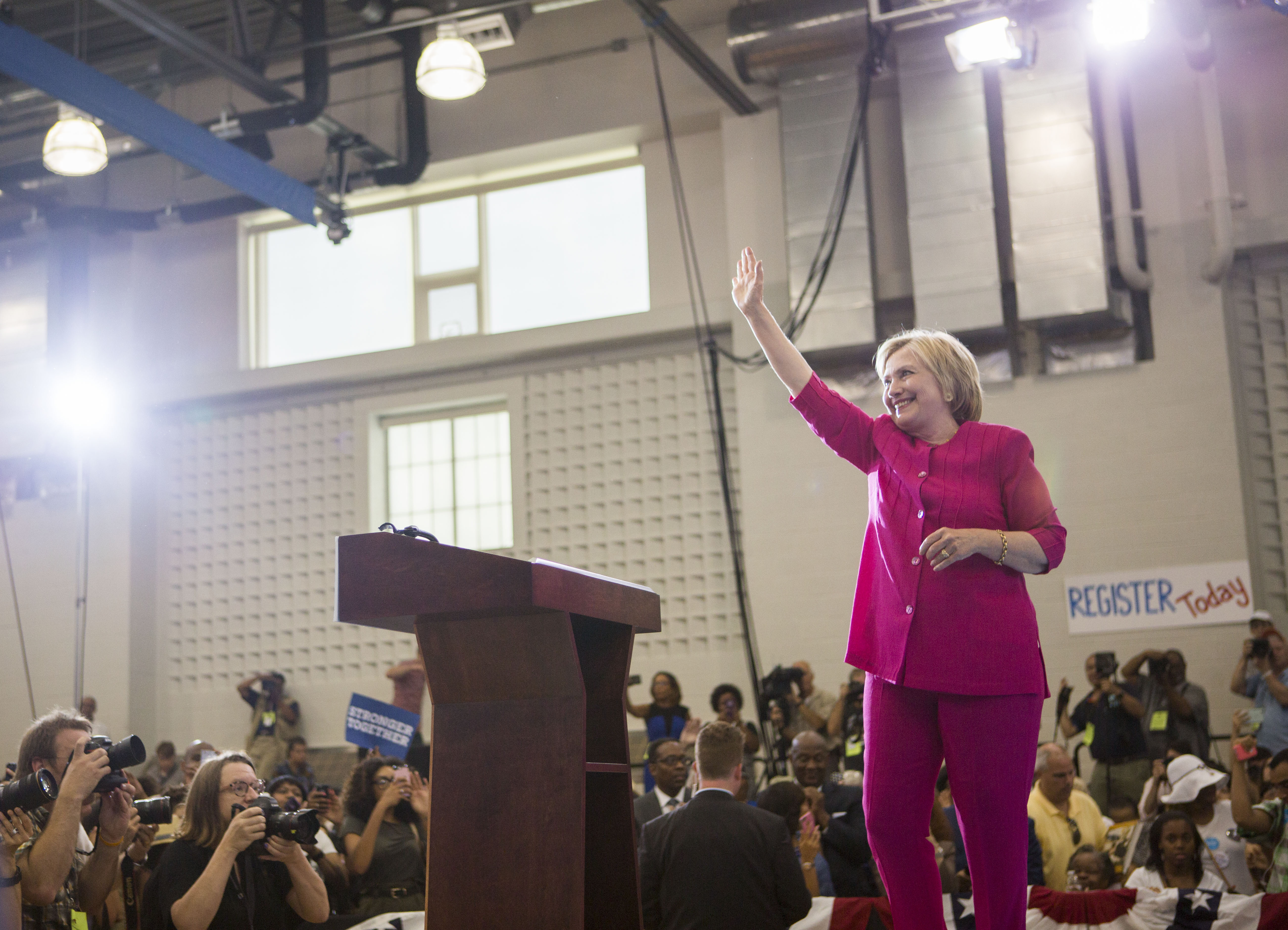 Democratic presidential nominee Hillary Clinton waves to the crowd during a voter registration event on August 16, 2016 at West Philadelphia High School in Philadelphia, Pennsylvania.