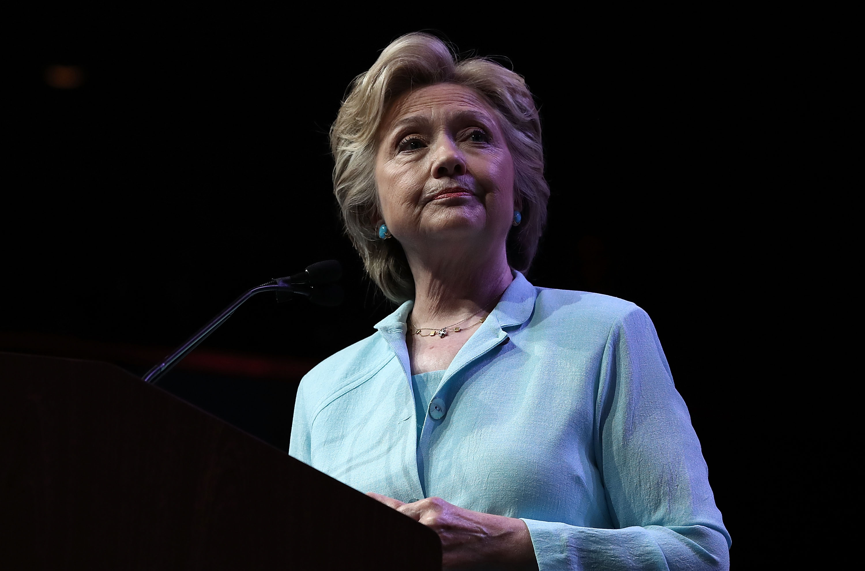 WASHINGTON, DC - AUGUST 05: Democratic presidential nominee Hillary Clinton answers questions after addressing the National Association of Black Journalists and the National Association of Hispanic Journalists August 5, 2016 in Washington, DC.