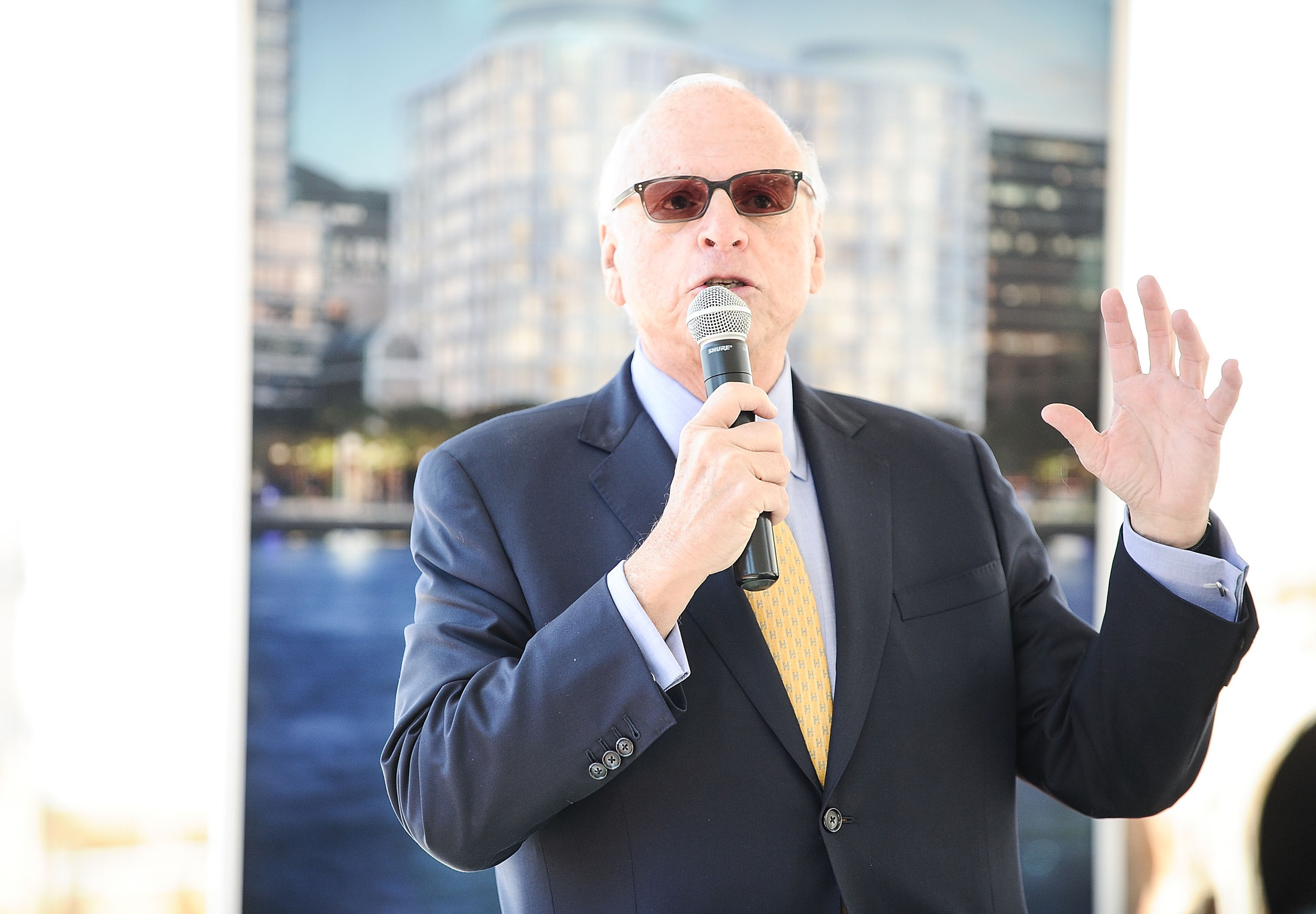 President of Vector Group Ltd Howard Lorber speaks during the groundbreaking ceremony of 160 Leroy Street in New York City on April 14, 2016.