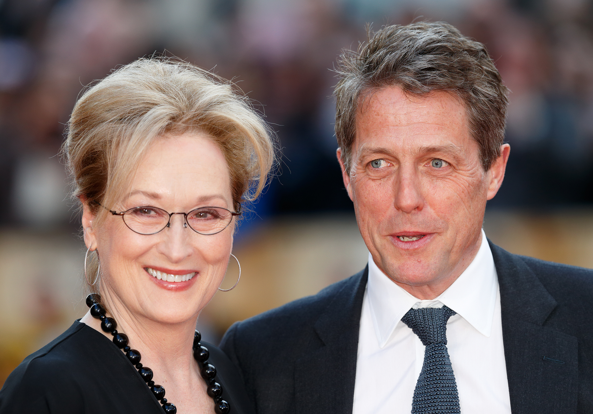 Meryl Streep and Hugh Grant arrive for the UK film premiere of 'Florence Foster Jenkins' at Odeon Leicester Square on April 12, 2016 in London, England. (Photo by Max Mumby/Indigo/Getty Images)