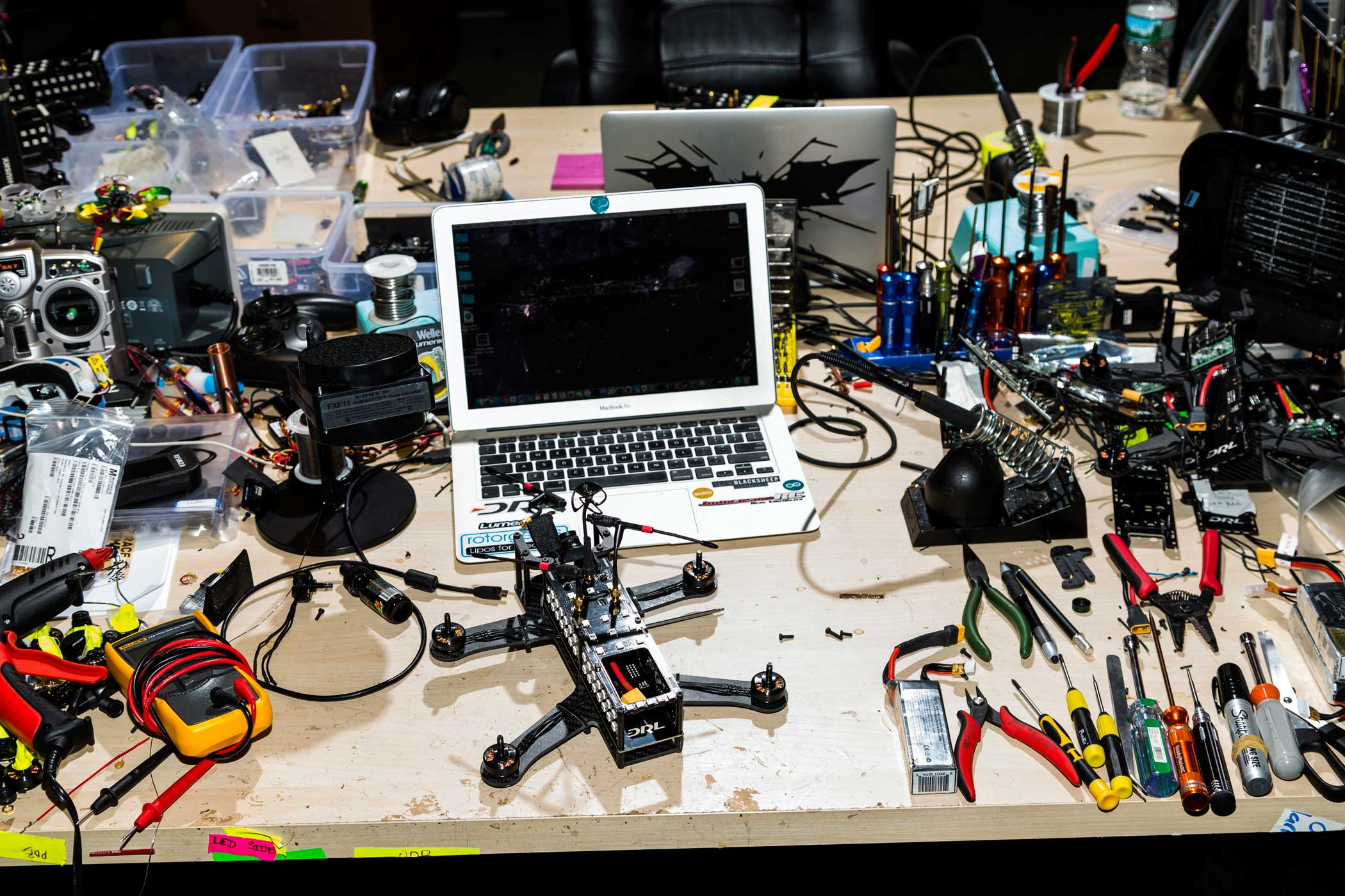 A drone sits on the desk of one of DRL's engineers.