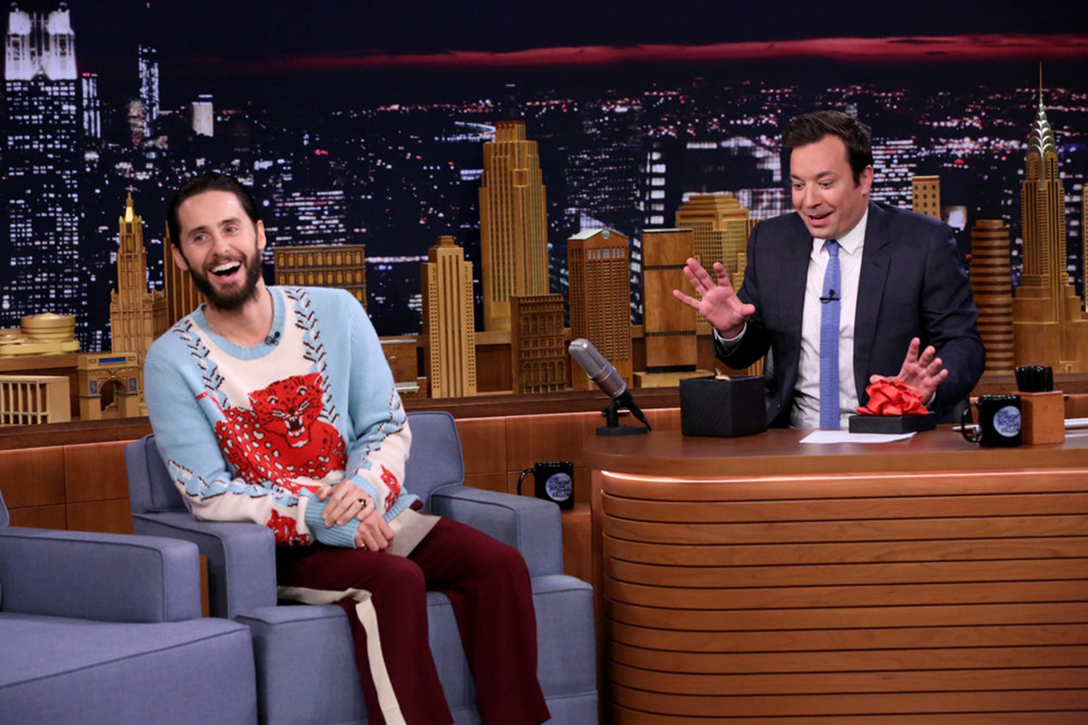 Actor Jared Leto during an interview with host Jimmy Fallon on Aug. 1, 2016.