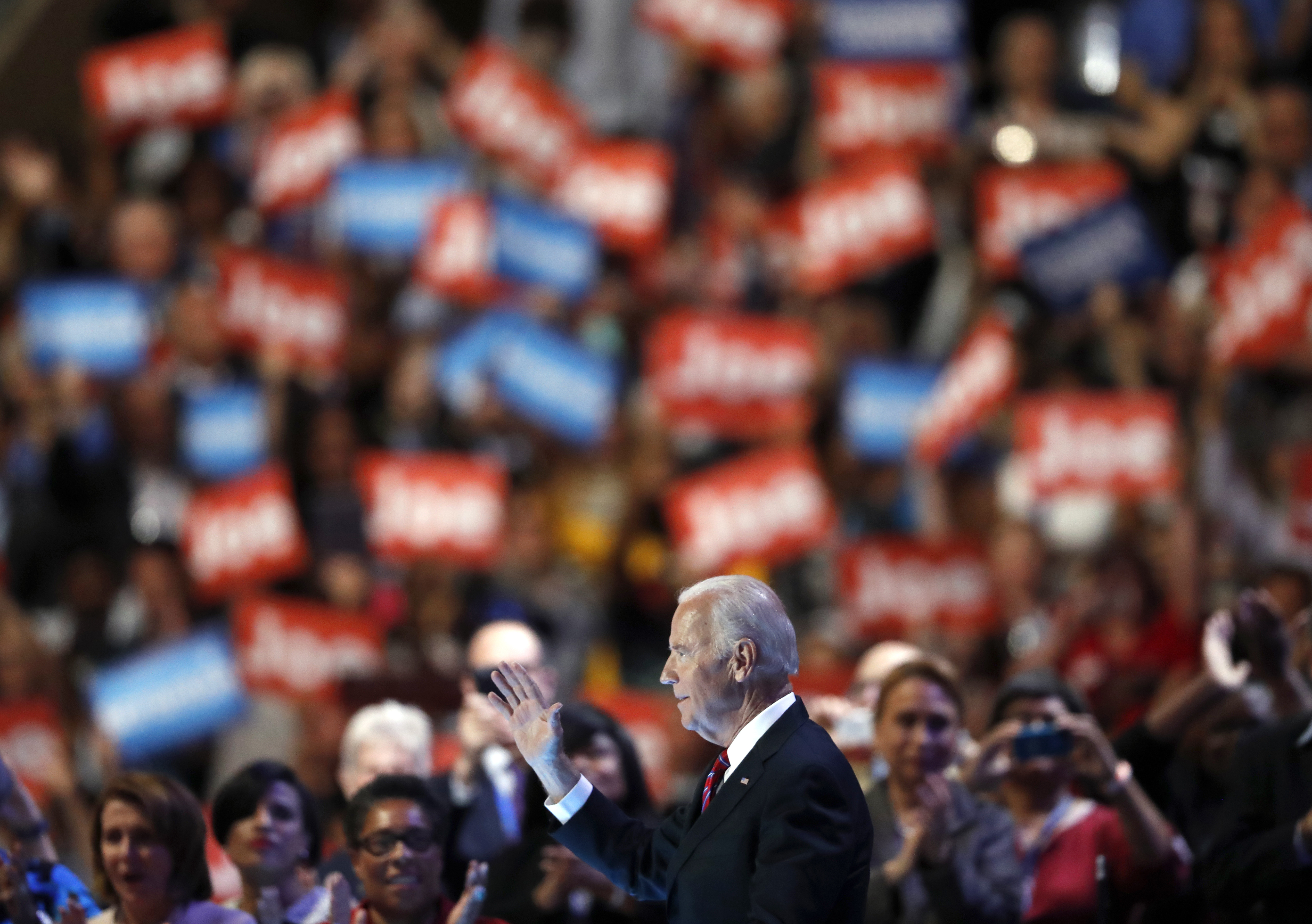 Joe Biden takes the stage during the third day of the Democratic National Convention in Philadelphia, on July 27, 2016.
