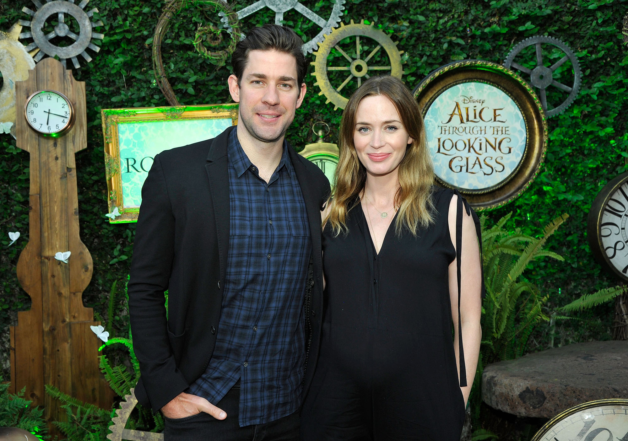 John Krasinski and Emily Blunt attend Disney's Alice Through the Looking Glass event on May 12, 2016 at Roseark in Los Angeles California.  Top designers showcased whimsical fashions, accessories and beauty collections inspired by the upcoming film.  (Photo by John Sciulli/Getty Images for Disney Consumer Products & Interactive Media)