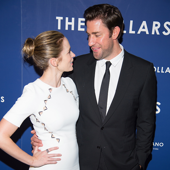Actors Emily Blunt (L) and John Krasinski attend 'The Hollars' New York screening at Cinepolis Chelsea on August 18, 2016 in New York City.