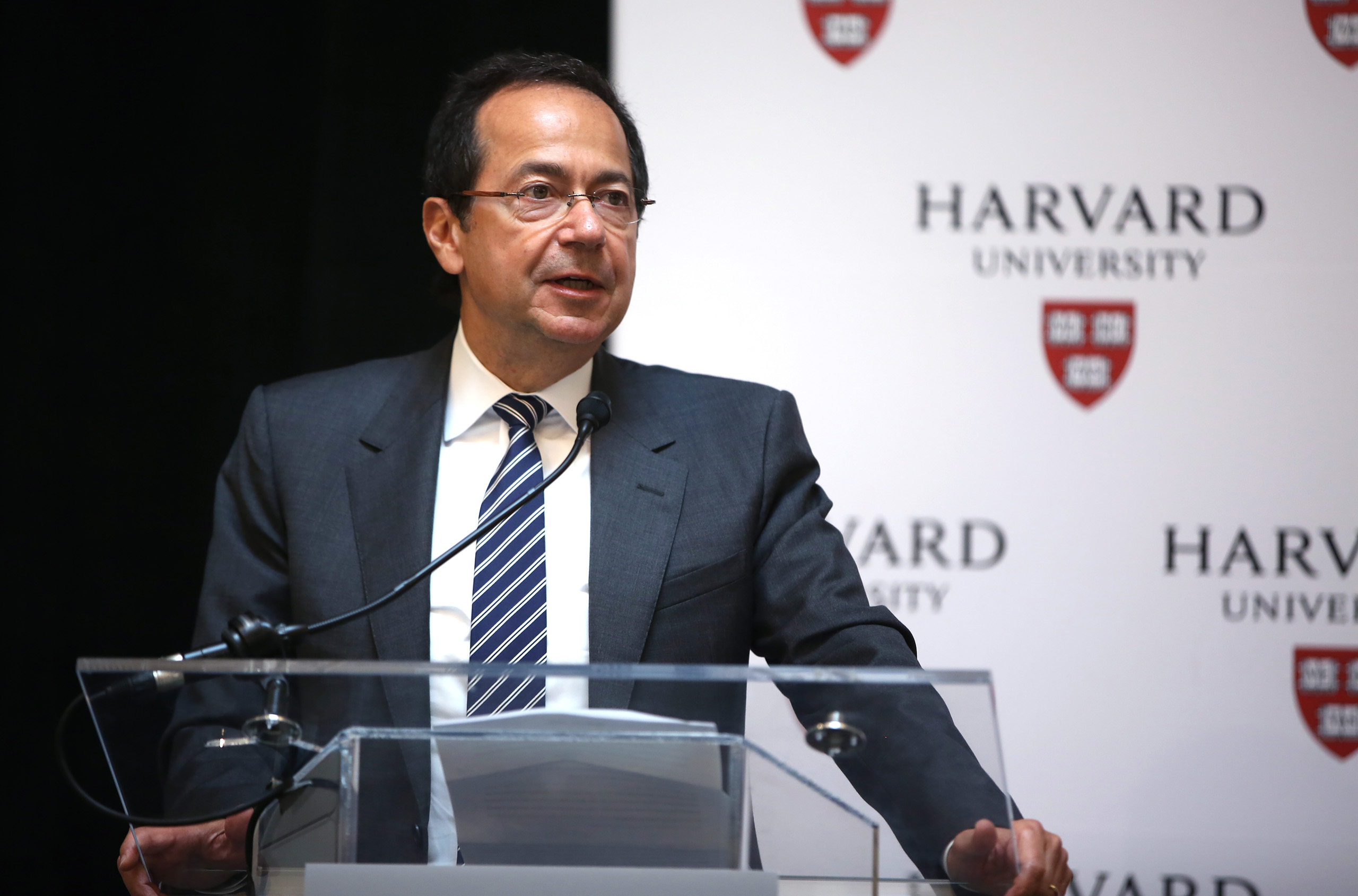 John A. Paulson makes comments during a noontime press conference at Harvard University to announce his gift of $400 million in Cambridge, Ma. on June 3, 2015.