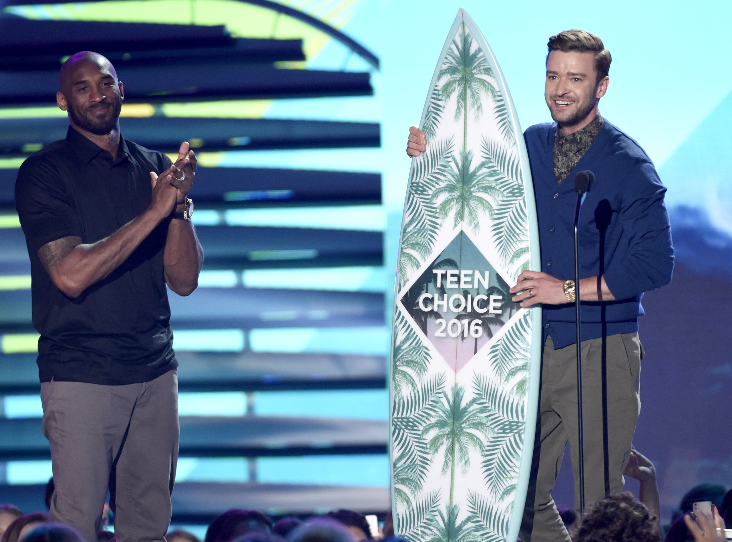 Justin Timberlake accepts the decade award at the Teen Choice Awards at the Forum in Inglewood, Calif. on July 31, 2016.