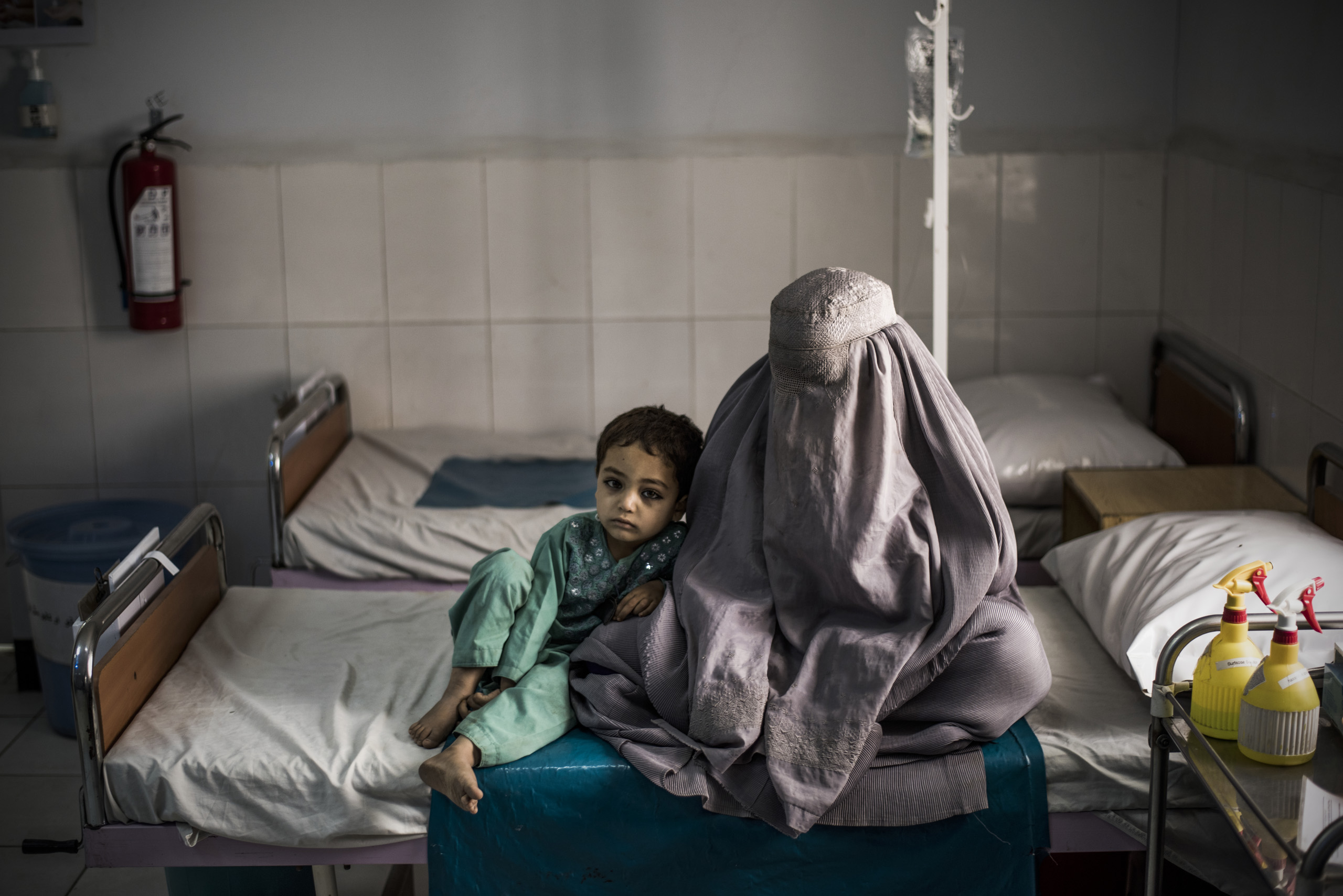 The female emergency room observation room which is run by Doctors Without Borders, and is one of their biggest hospitals in the world, Lashkar Gah, Helmand, Afghanistan, June 2016.