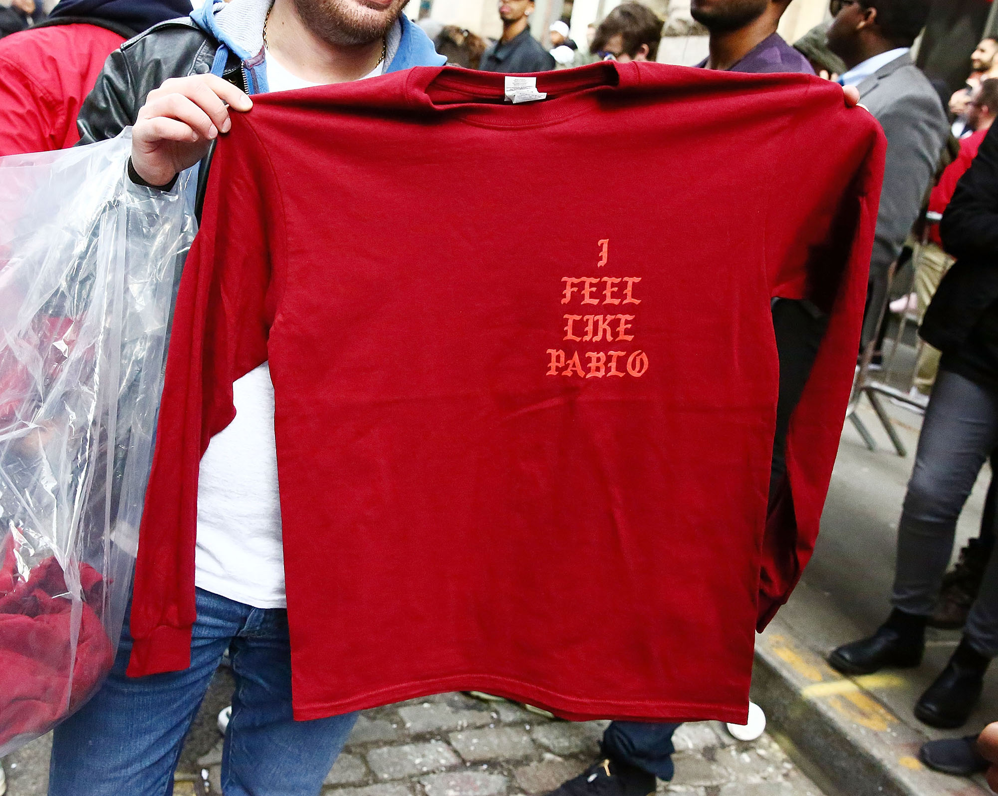 Shirts designed by Kanye West are displayed outside 83 Wooster Street in Soho at the Kanye West   Pablo Pop-Up Shop  In Manhattan on March 18, 2016 in New York City.  (Photo by Astrid Stawiarz/Getty Images)