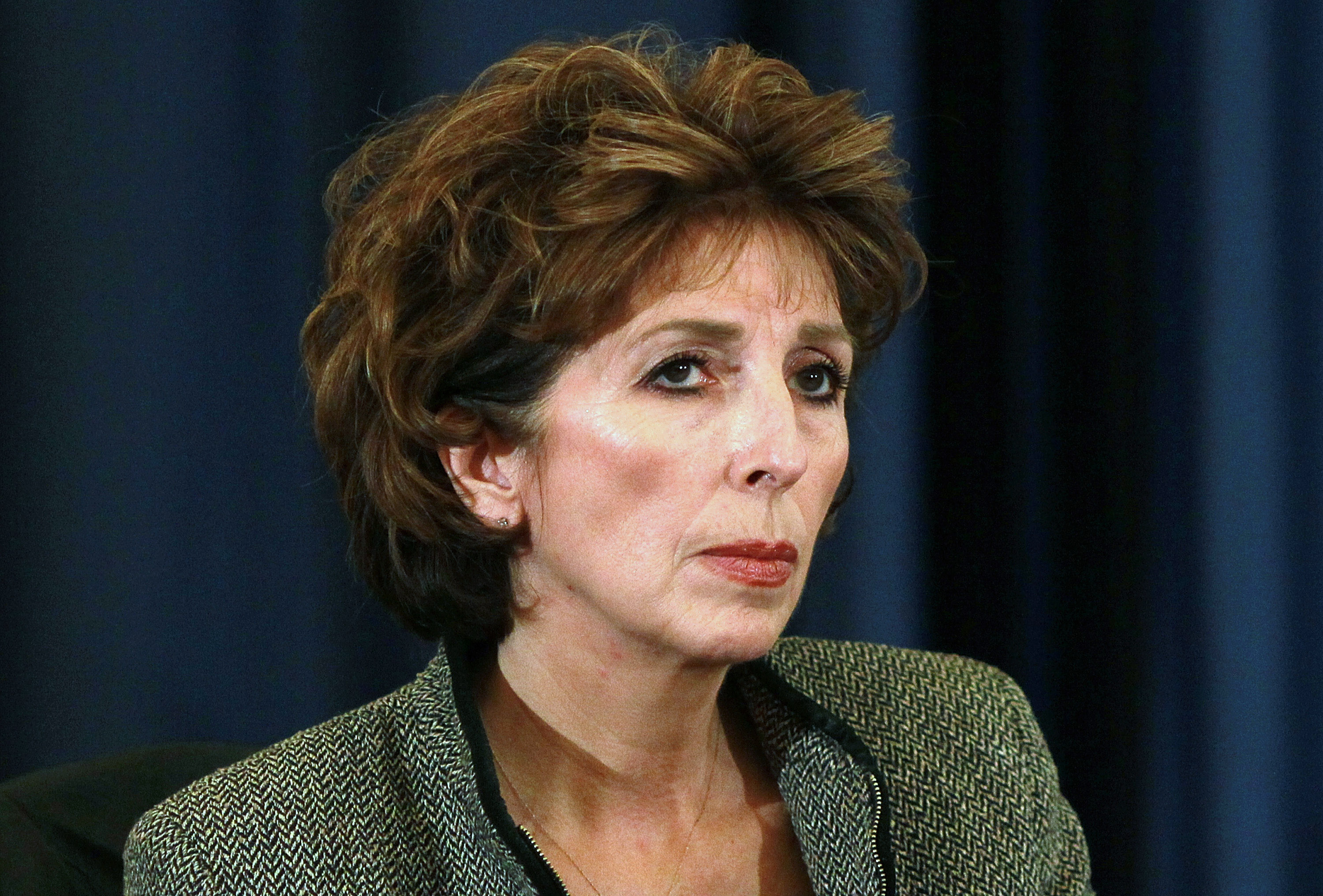 DAVIS, CA - NOVEMBER 28:  UC Davis chancellor Linda Katehi looks on during a UC Regents meeting on the UC Davis campus on November 28, 2011 in Davis, California. Student protesters and members of the Occupy movement are calling for a general strike at the UC Davis campus to coincide with the UC Regents meeting that is being held on four UC campuses. Students are outraged in the wake of an incident where a UC Davis police officer pepper sprayed protestors who sat passively with their arms locked.  (Photo by Justin Sullivan/Getty Images)