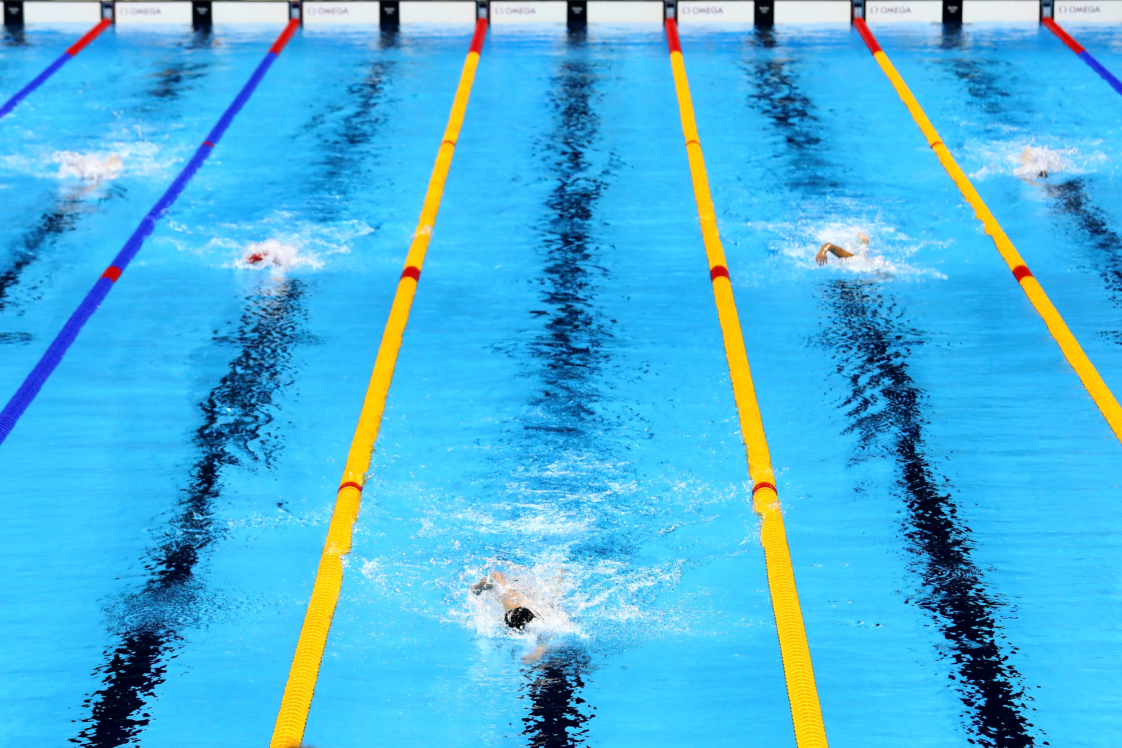 Katie Ledecky leads the field in the Women's 800m Freestyle Final on Day 7 of the Rio 2016 Olympic Games, on August 12, 2016.