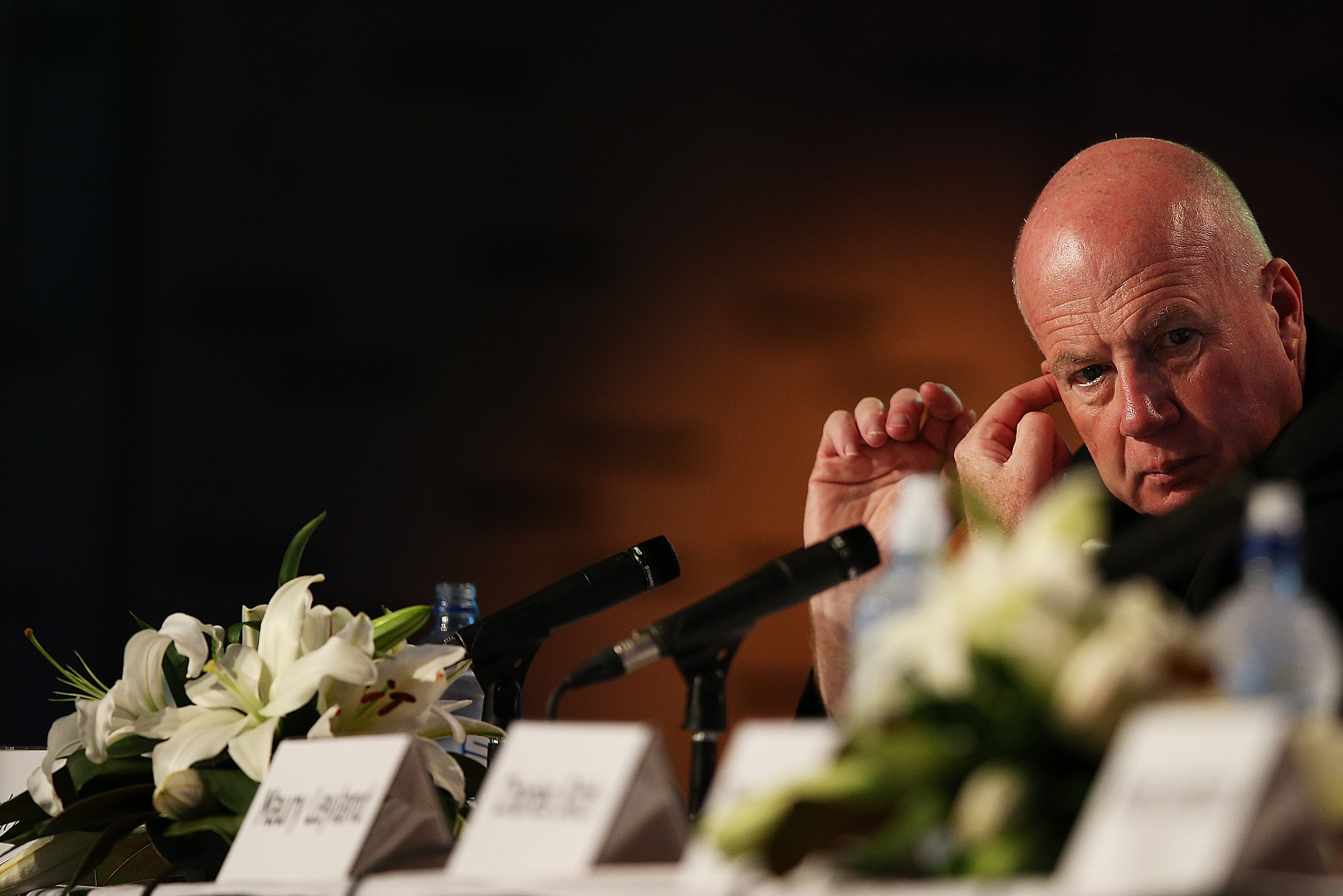 Board member Kevin Roberts attends the Telecom annual general meeting in Auckland, New Zealand on Sept. 28, 2012.