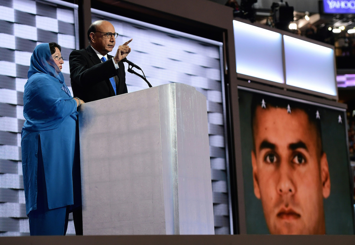 Khizr Khan, whose son Humayun S. M. Khan was one of 14 US Muslims who died serving the United States in the ten years after 9/11, speaks during the final day of the 2016 Democratic National Convention on July 28, 2016, at the Wells Fargo Center in Philadelphia.