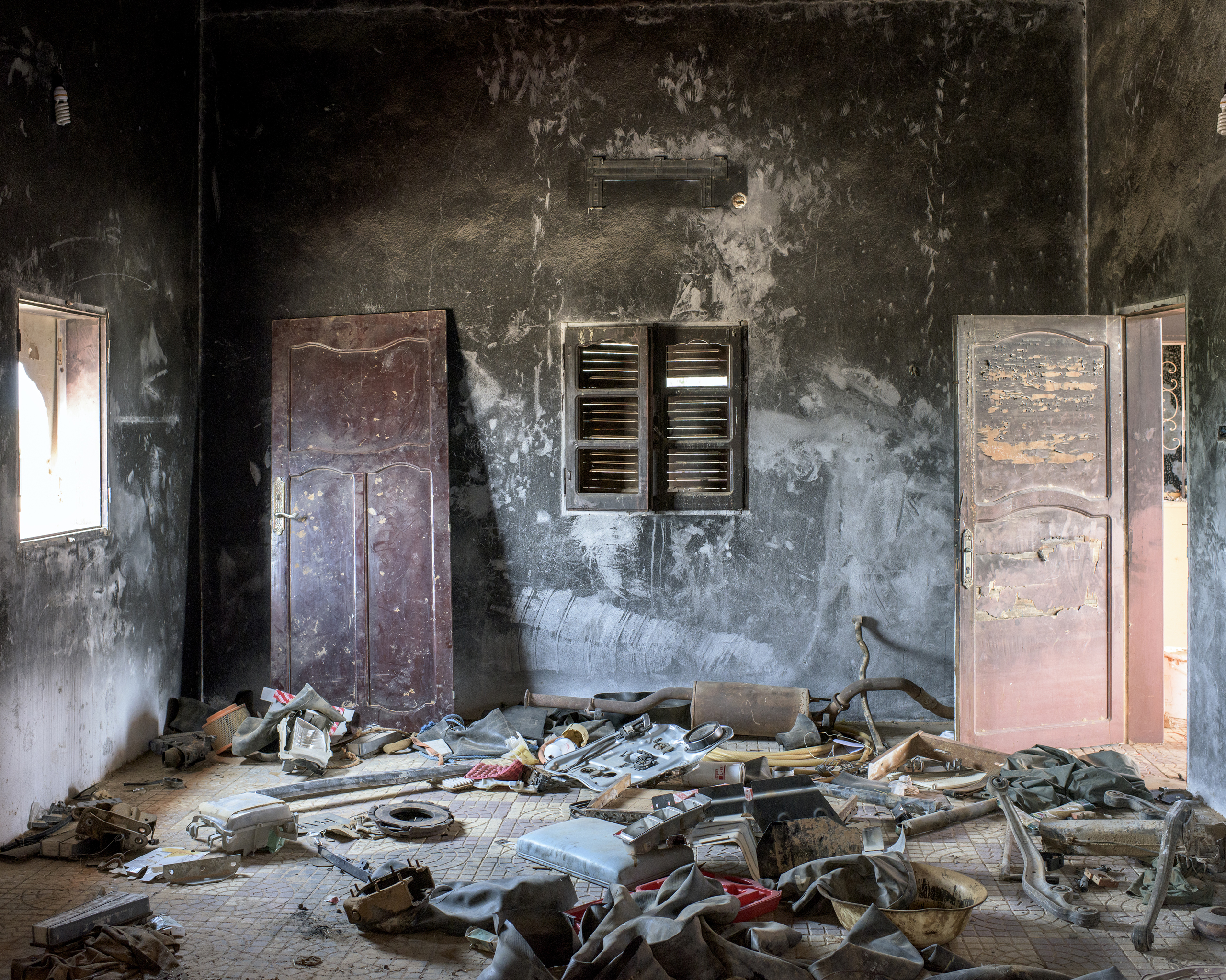 A burned-out room that was used as an  ISIS car-bomb manufacturing facility in an industrial district on the outskirts of  Sirt, Libya, July 2016.