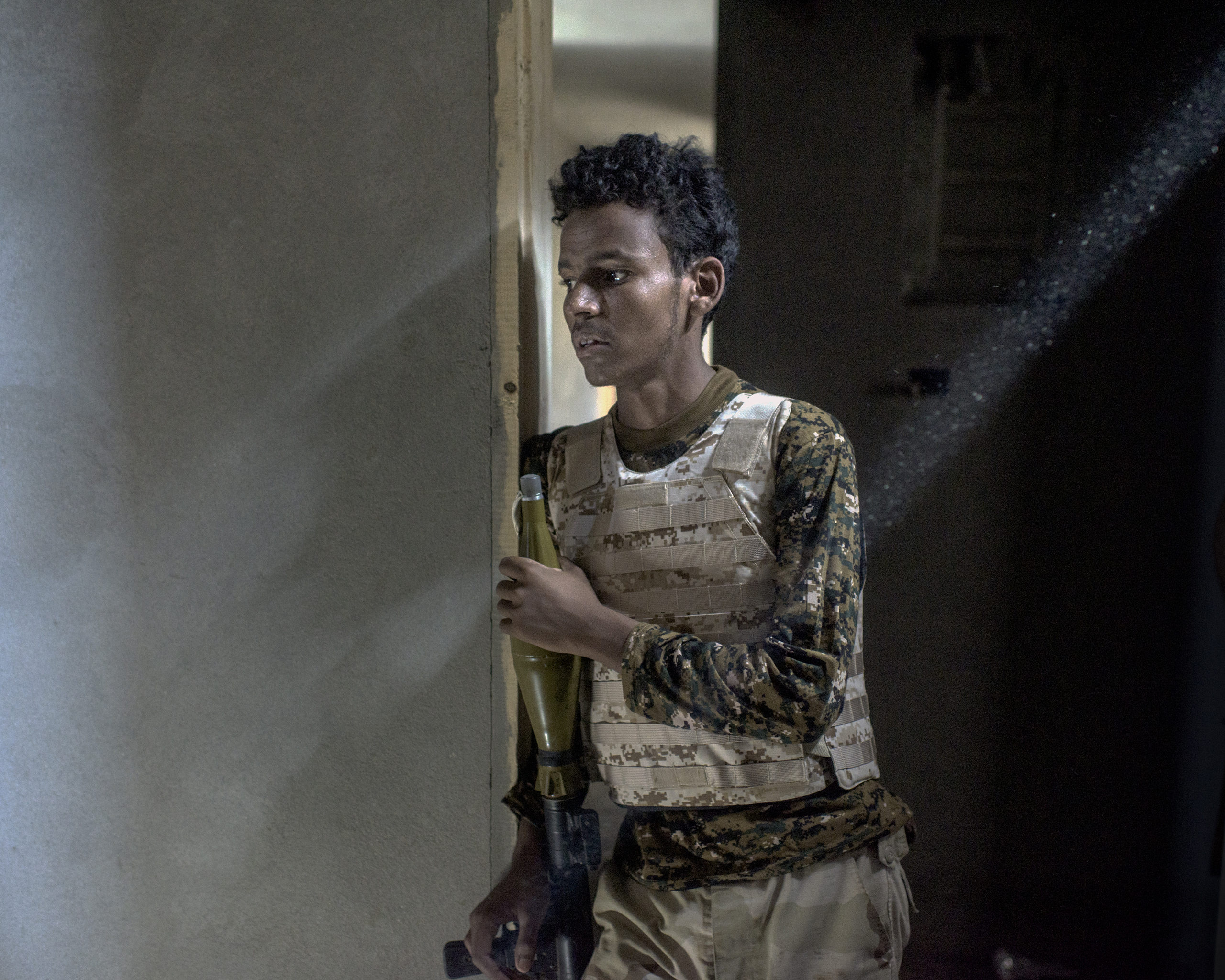 A Tuareg fighter with an RPG on the frontline against ISIS in the Hay Dollar neighborhood of Sirt, Libya, July 2016.