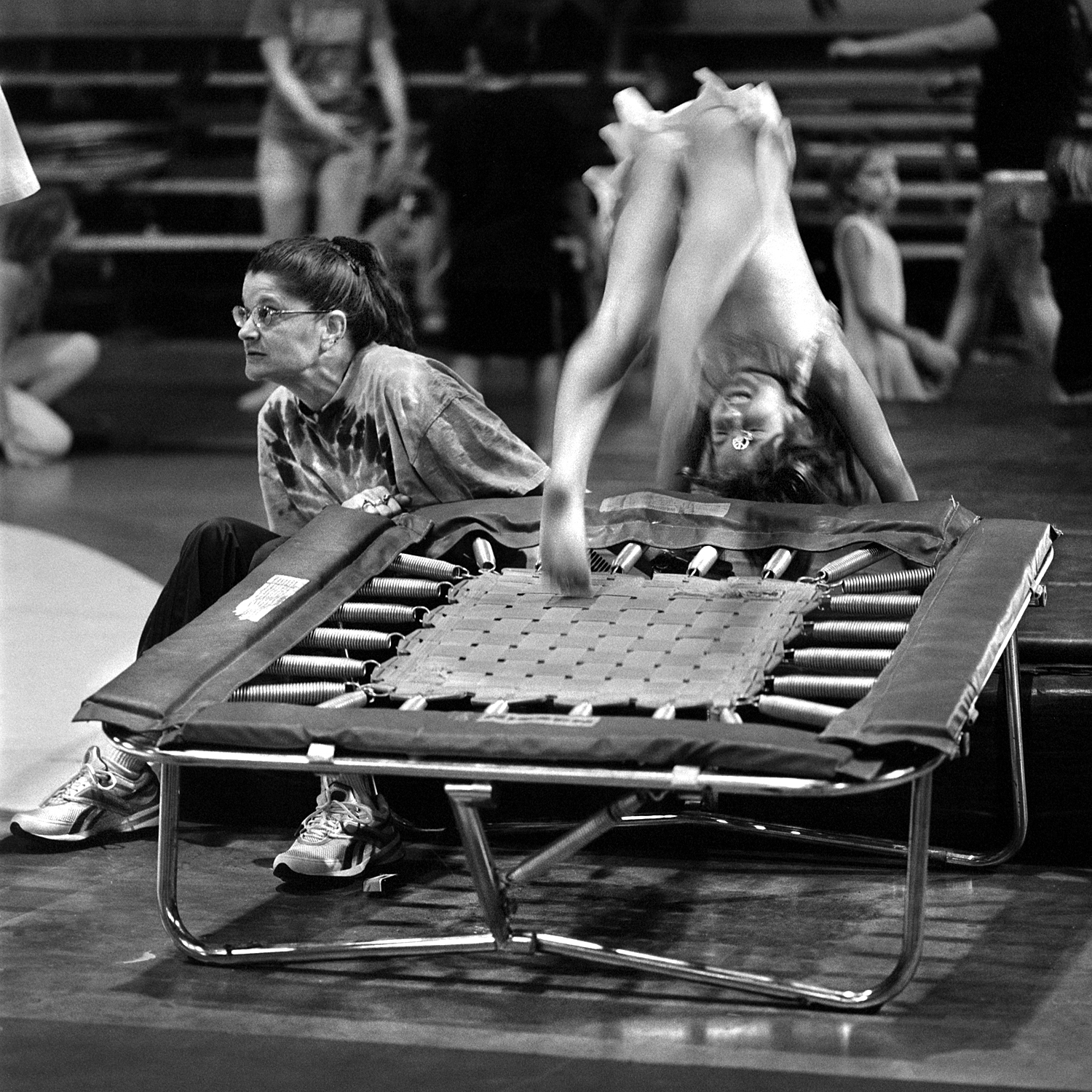 Lori Smith trains the tumbling acts. There are beginning, intermediate and advance acts, with sometimes up to 40 or 50 kids in the beginners group. They learn pretty quickly to not let their necklaces dangle while doing somersaults.