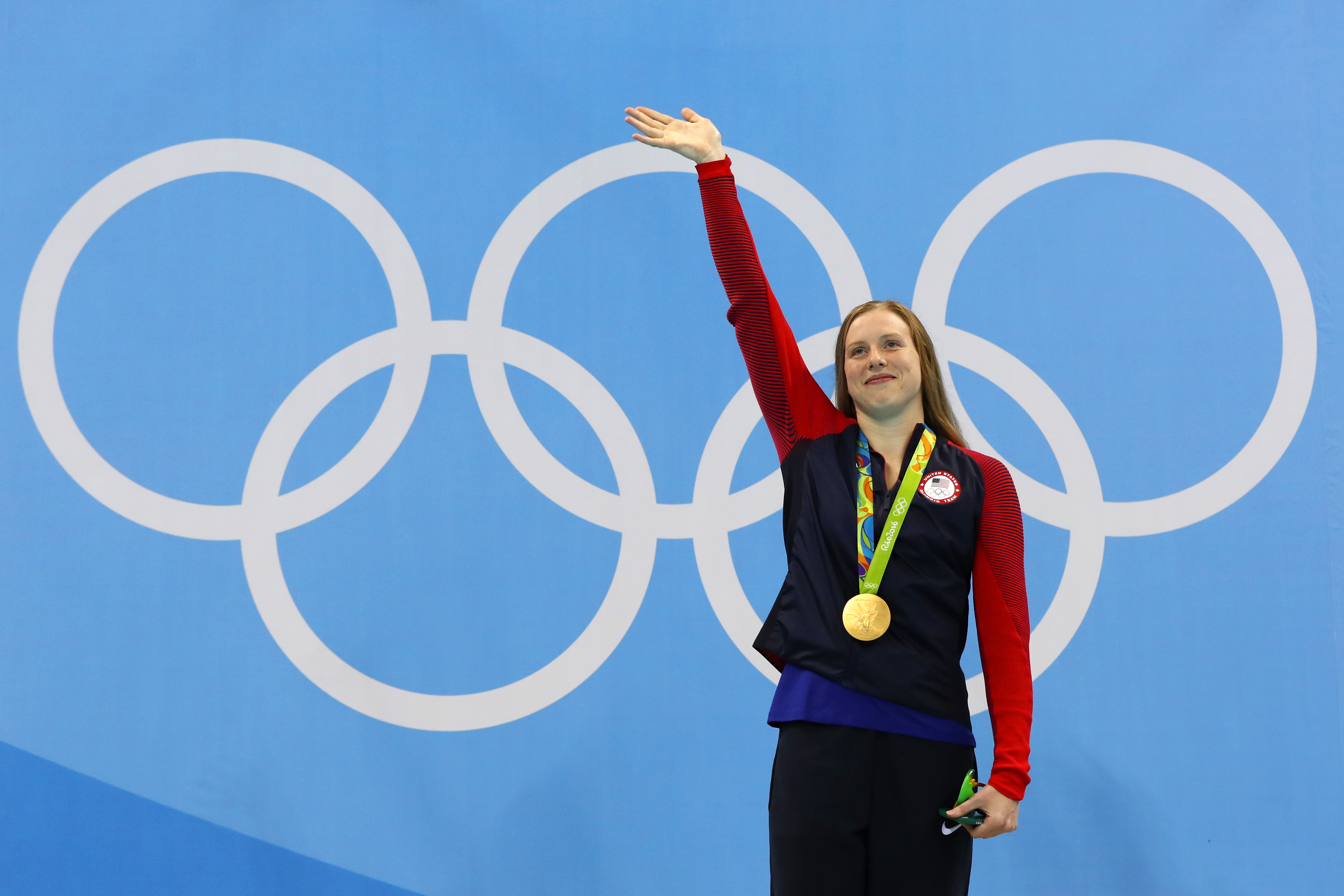 Gold medalist Lilly King of the United States poses during the medal ceremony for the Women's 100m Breaststroke Final on Day 3 of the Rio 2016 Olympic Games at the Olympic Aquatics Stadium in Rio de Janeiro on Aug. 8, 2016.