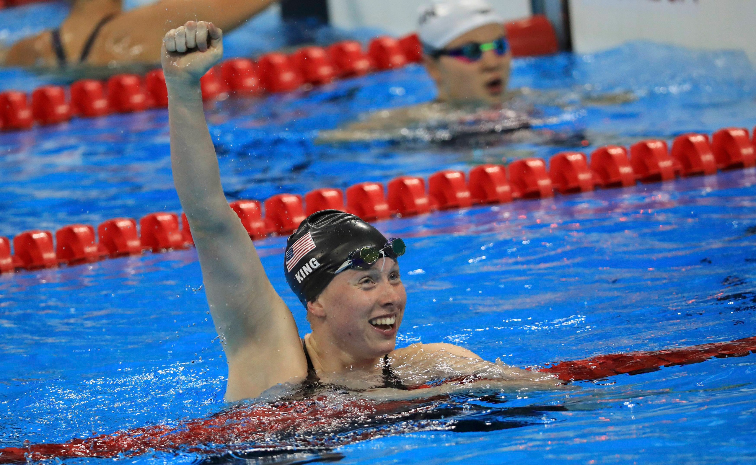 Lilly King of USA reacts after winning the gold medal at the Women's 100m Breaststroke Final at the 2016 Rio Olympics, held at the Olympic Aquatics Stadium in Rio de Janeiro on Aug. 8, 2016.