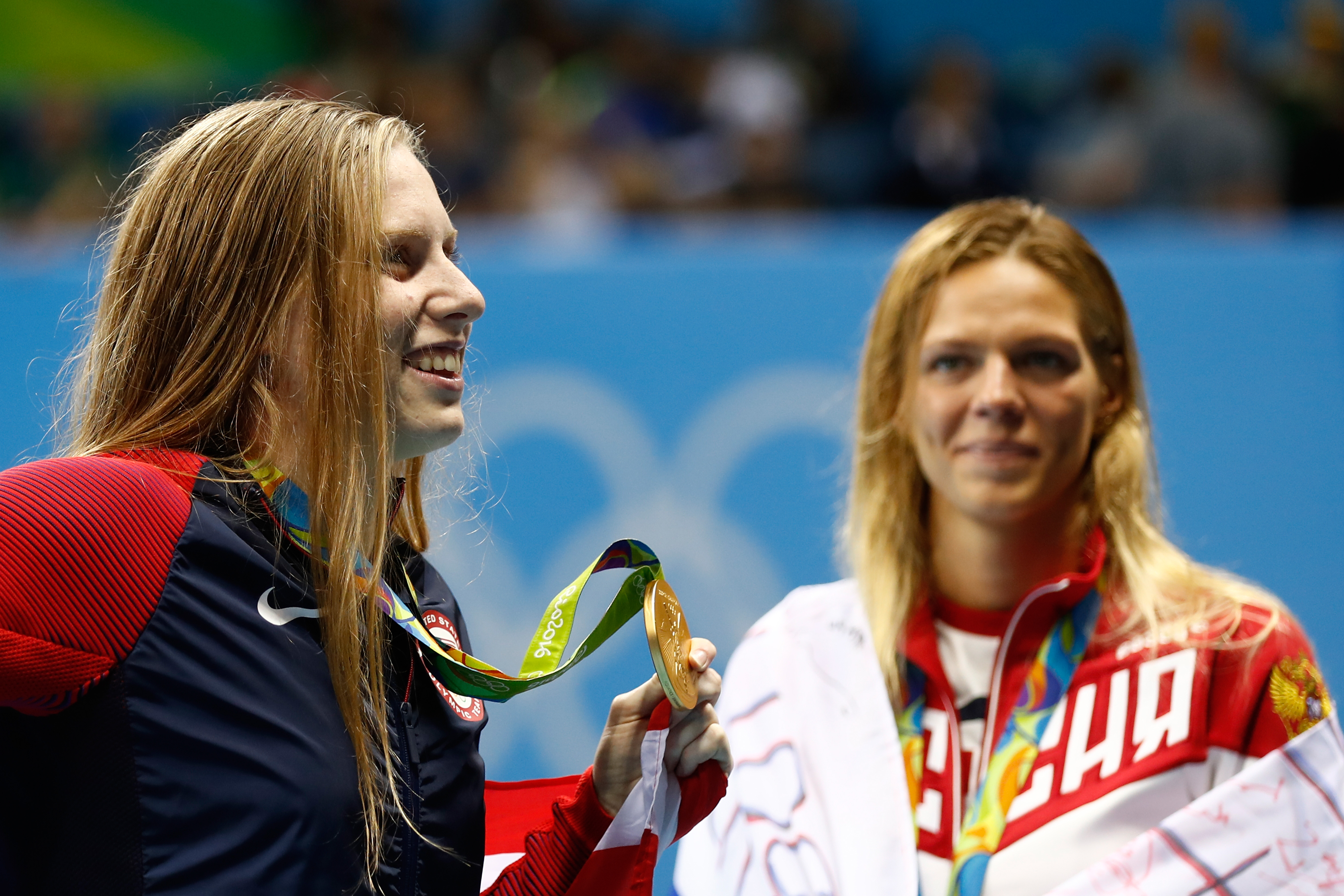 Lilly King of the United States celebrates as Yulia Efimova of Russia looks on during the Rio 2016 Olympic Games, on Aug. 8, 2016.