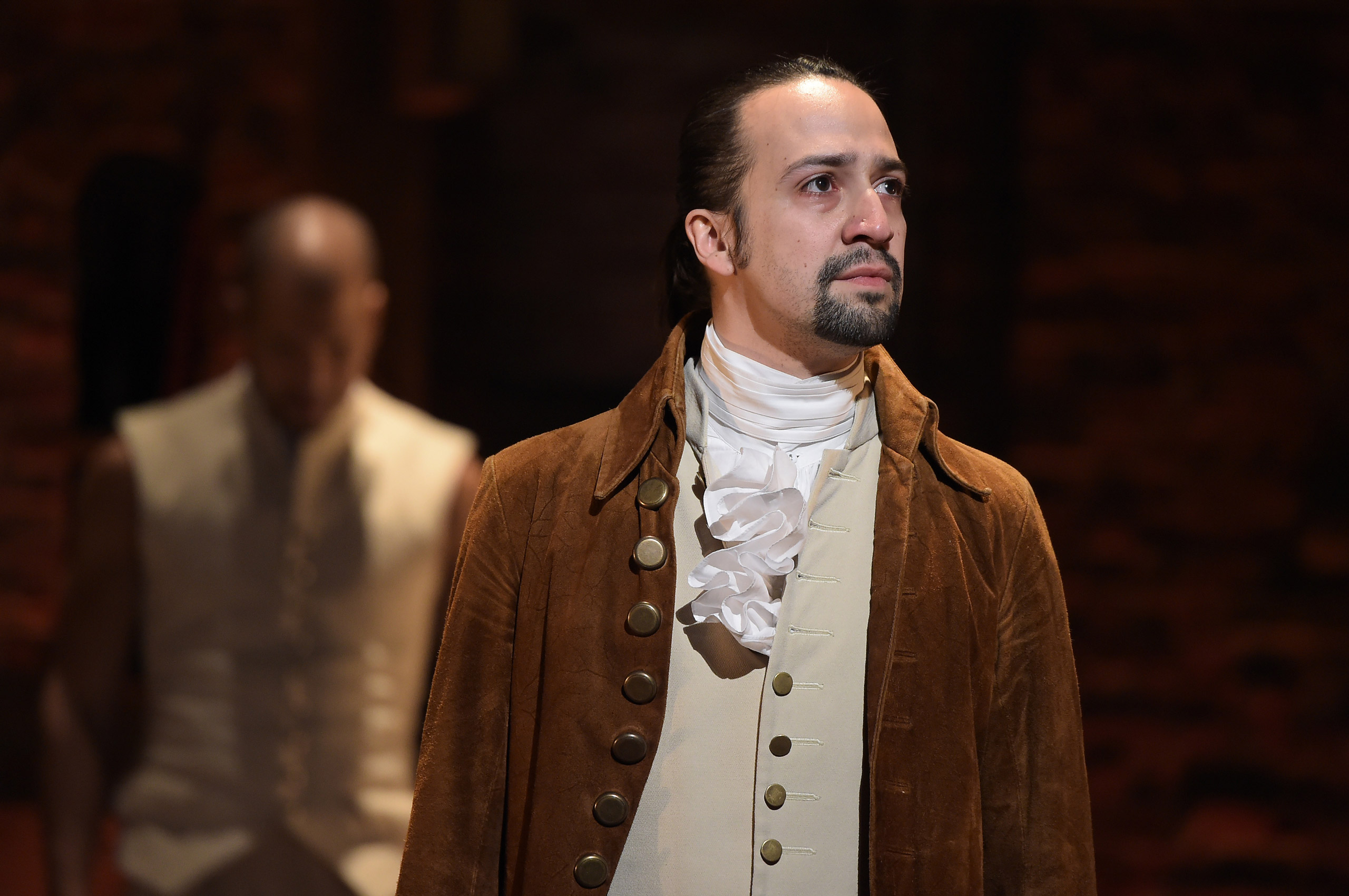 Actor, composer Lin-Manuel Miranda is seen on stage during the  Hamilton  performance for the 58th GRAMMY Awards in New York on Feb. 15, 2016.