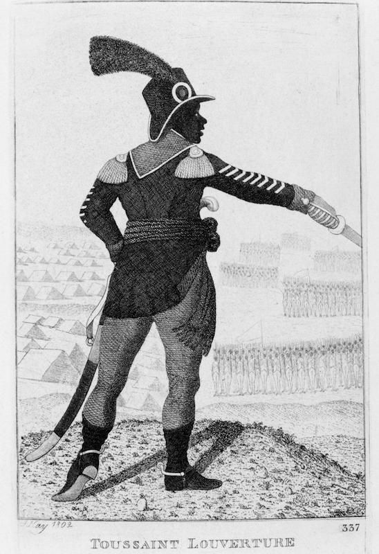 Pierre Dominique Toussaint l'Ouverture (1746-1803) Haitian revolutionary leader. Etching by John Kay, 1802.