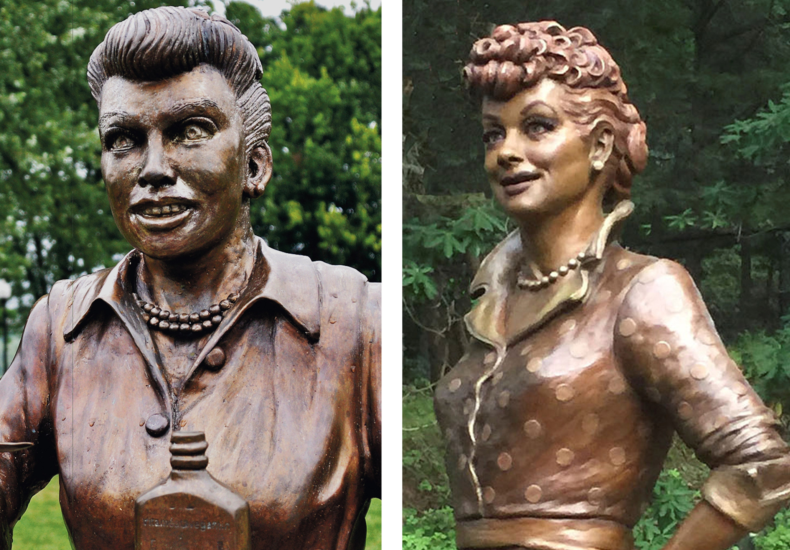 Left: The bronze sculpture of Lucille Ball by Dave Poulin, seen at the Lucille Ball Memorial Park in Celoron, N.Y.. in Aug. 2012; Right the bronze sculpture of Lucille Ball by Carolyn D. Palmer, unveiled at the Lucille Ball Memorial Park in Celeron, N.Y., on Aug. 6, 2016.