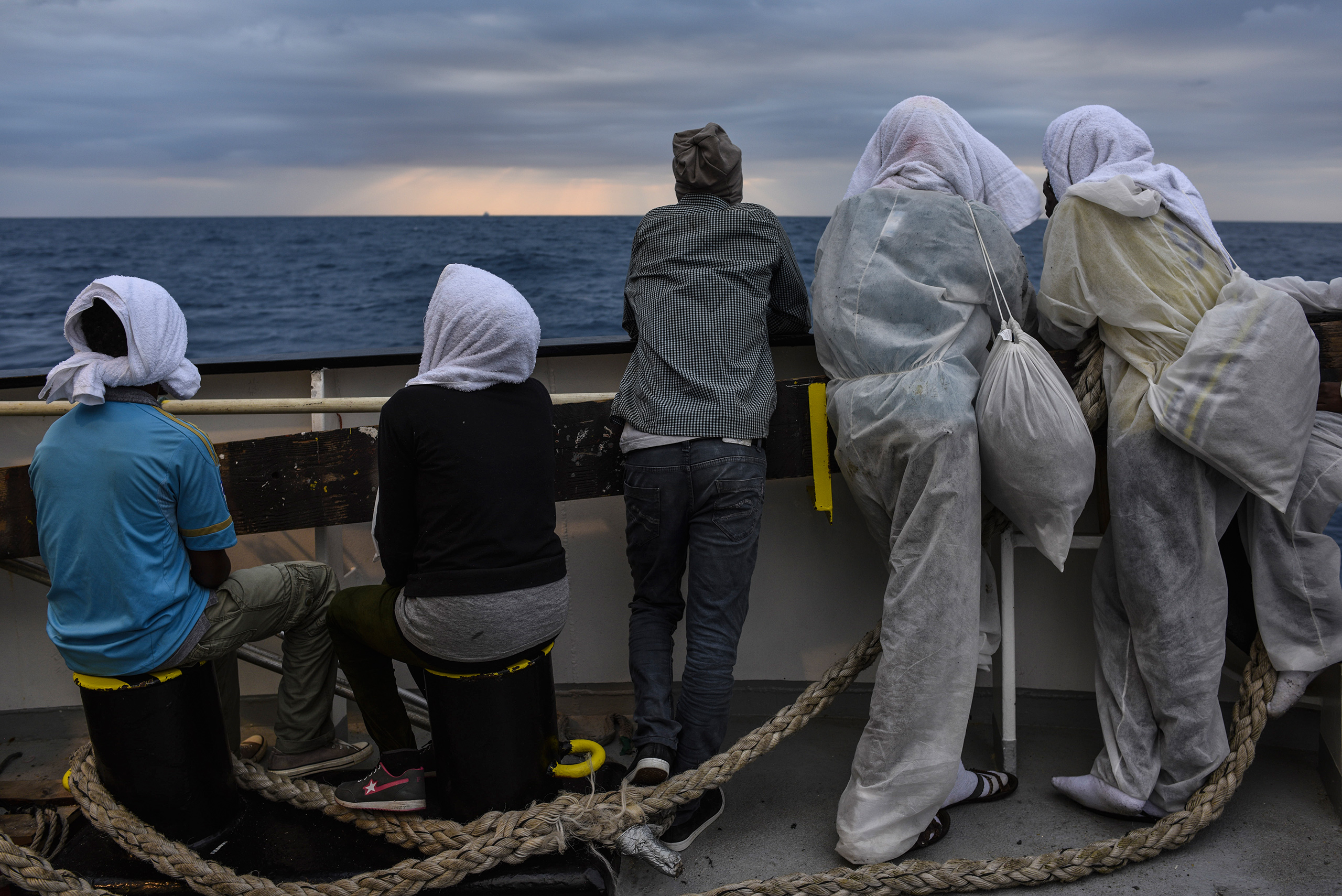 Migrants approaching the coast of Sicily, two days after they were rescued, Aug. 23, 2016.