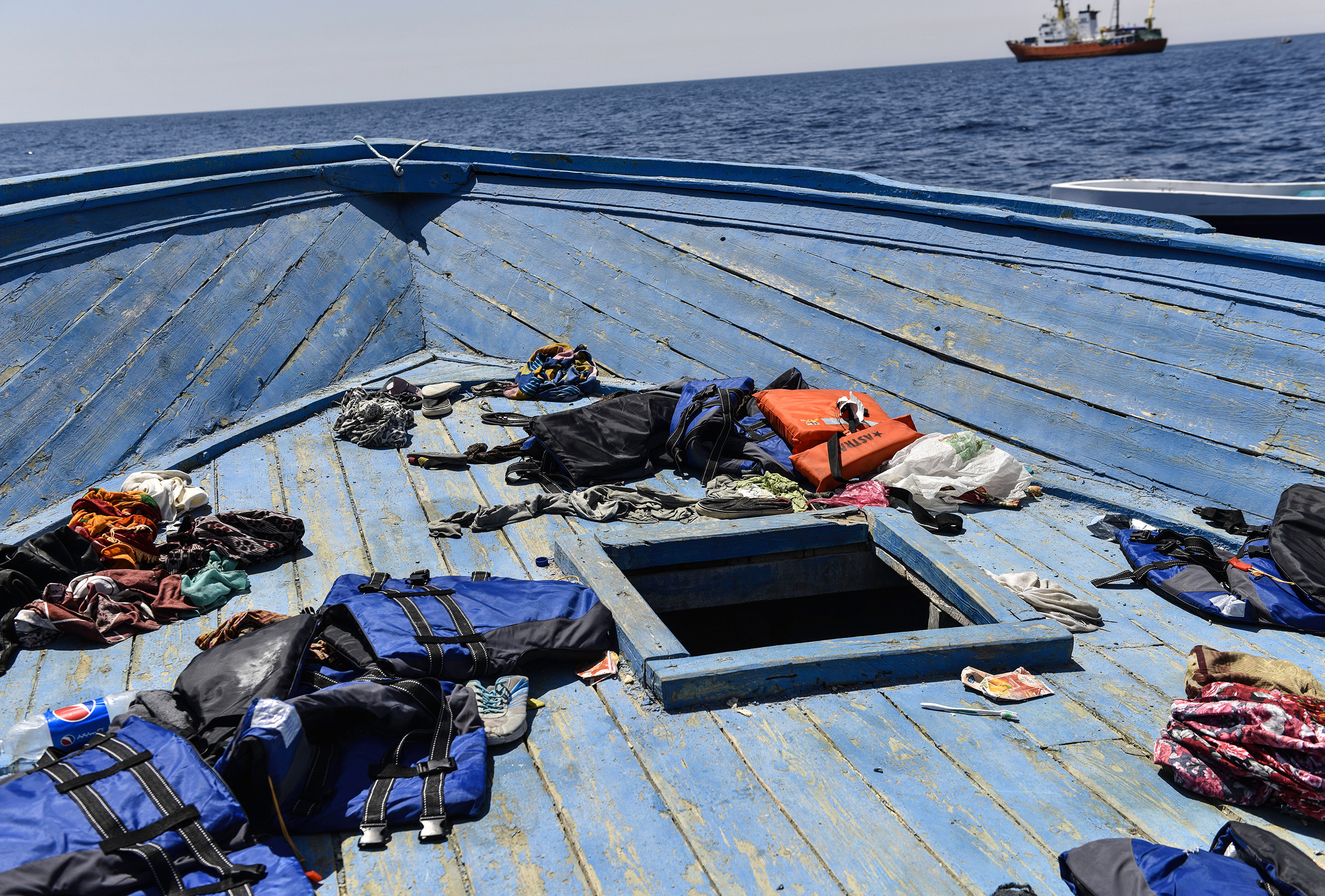 The deck of the empty leaking vessel after the rescue in the Mediterranean, Aug. 21, 2016.
