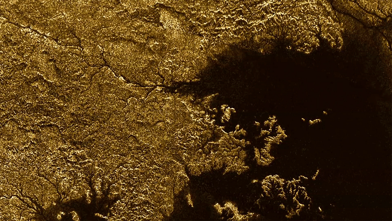 The large hydrocarbon sea named Ligeia Mare on Saturn's moon Titan, as photographed by NASA's Cassini spacecraft.