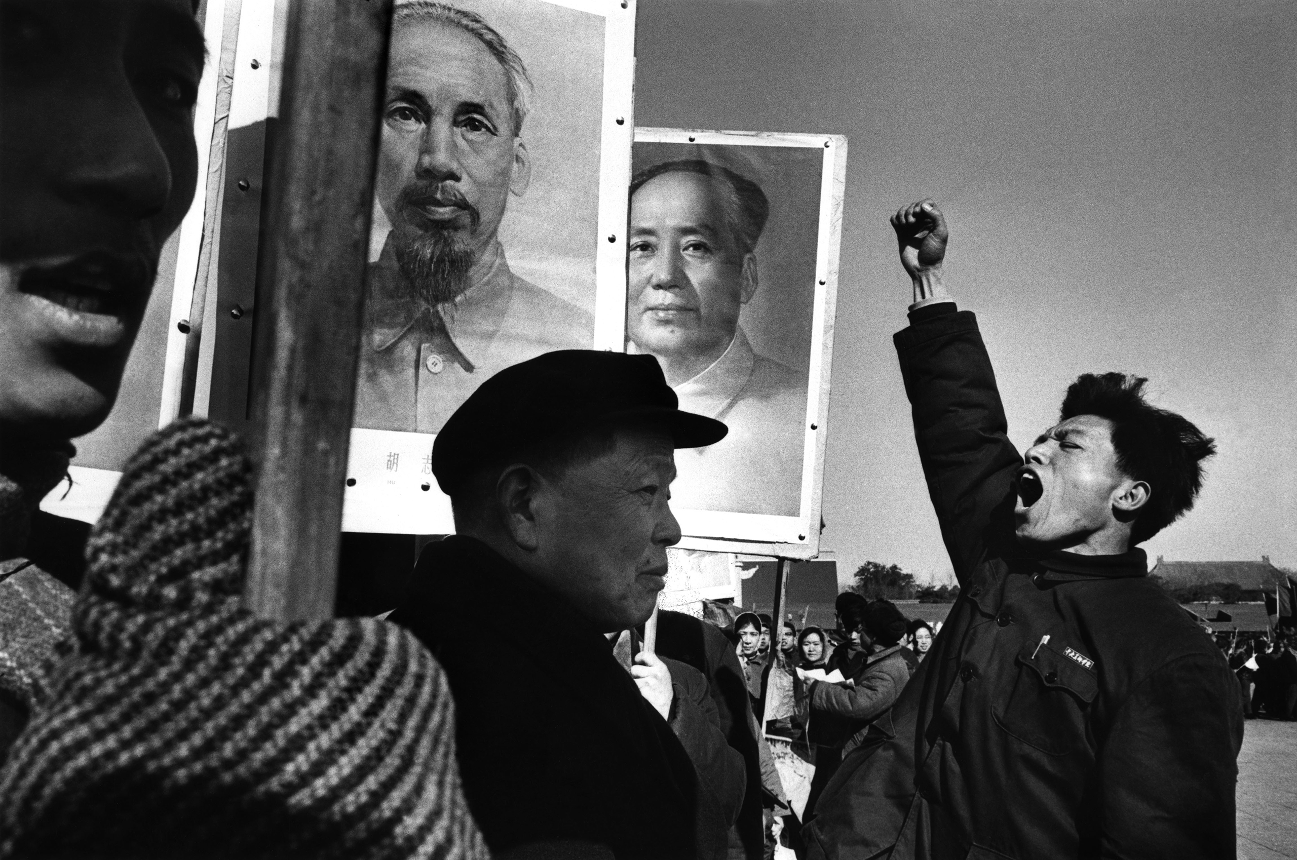 A demonstration in China to protest against the U.S. military intervention in North Vietnam, 1965.