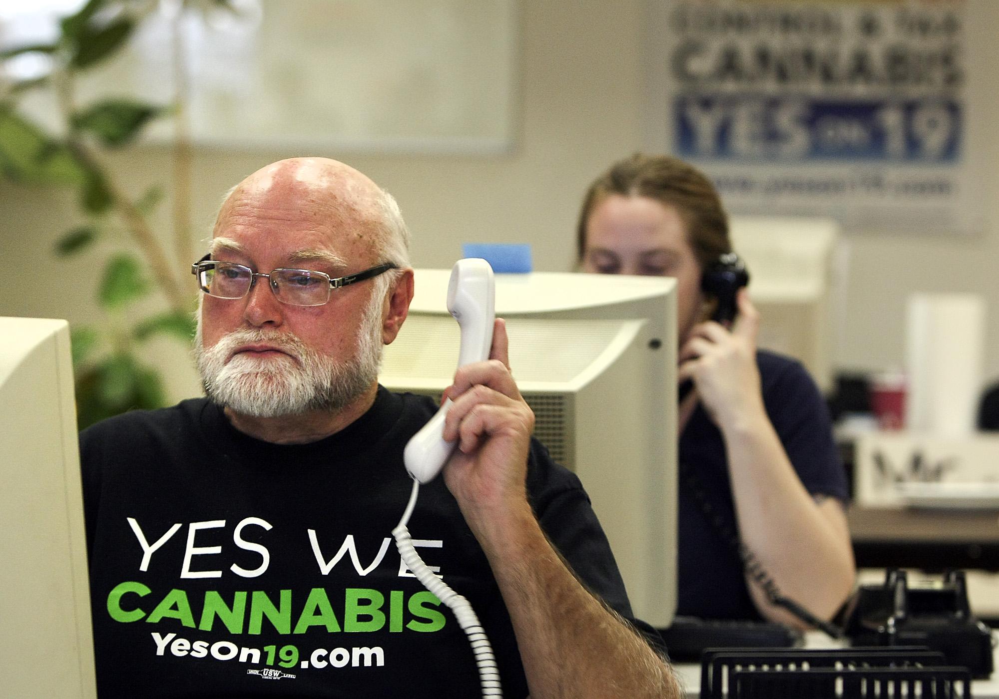 Volunteer Gregory Lyons, 63, of Oakland, makes calls at Oaksterdam University in support of Prop 19, a marijuana legalization initiative, in Oakland on Nov. 2 2010.