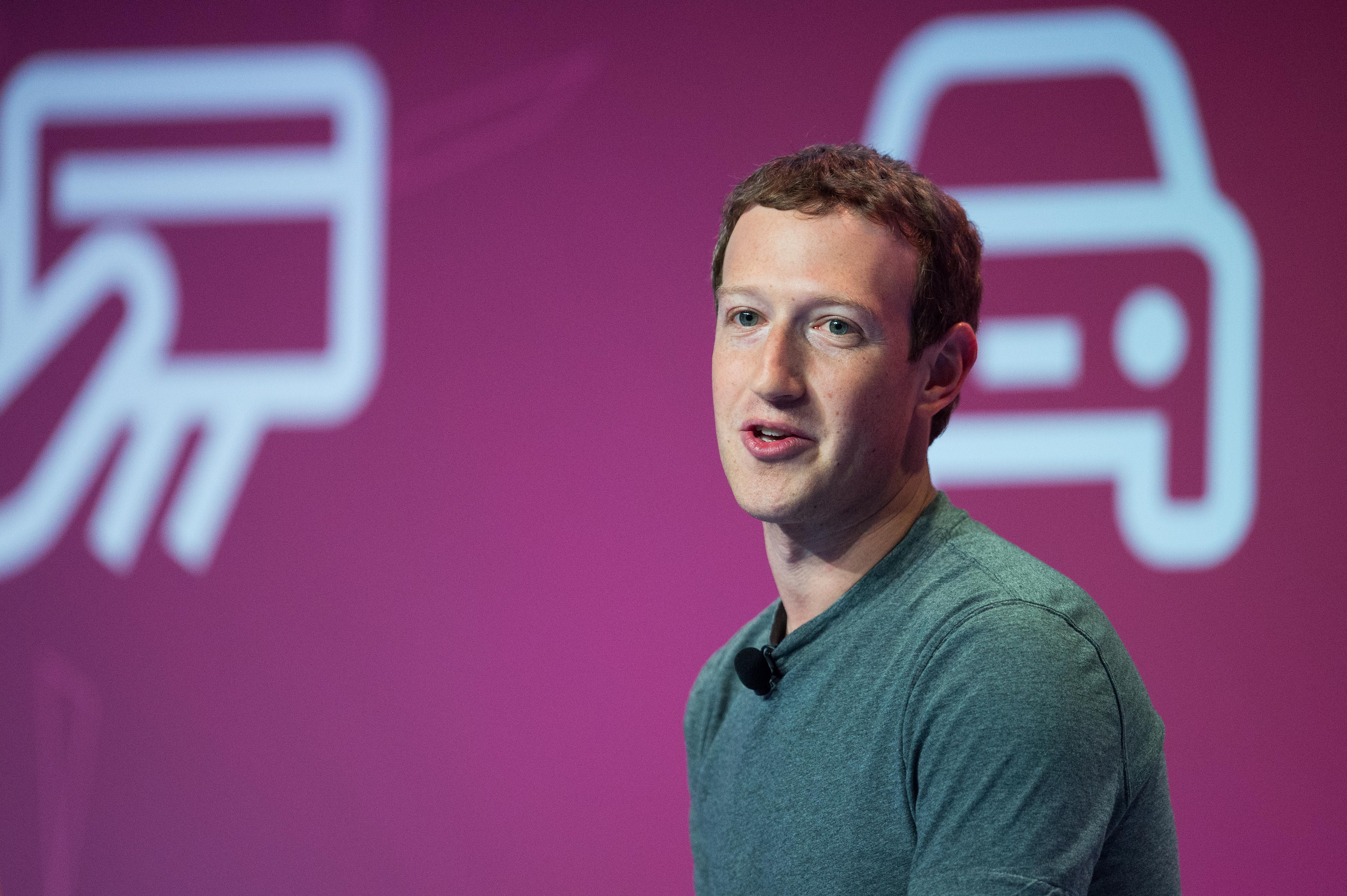 Founder and CEO of Facebook Mark Zuckerberg delivers his keynote conference on the opening day of the World Mobile Congress at the Fira Gran Via Complex on February 22, 2016 in Barcelona, Spain.