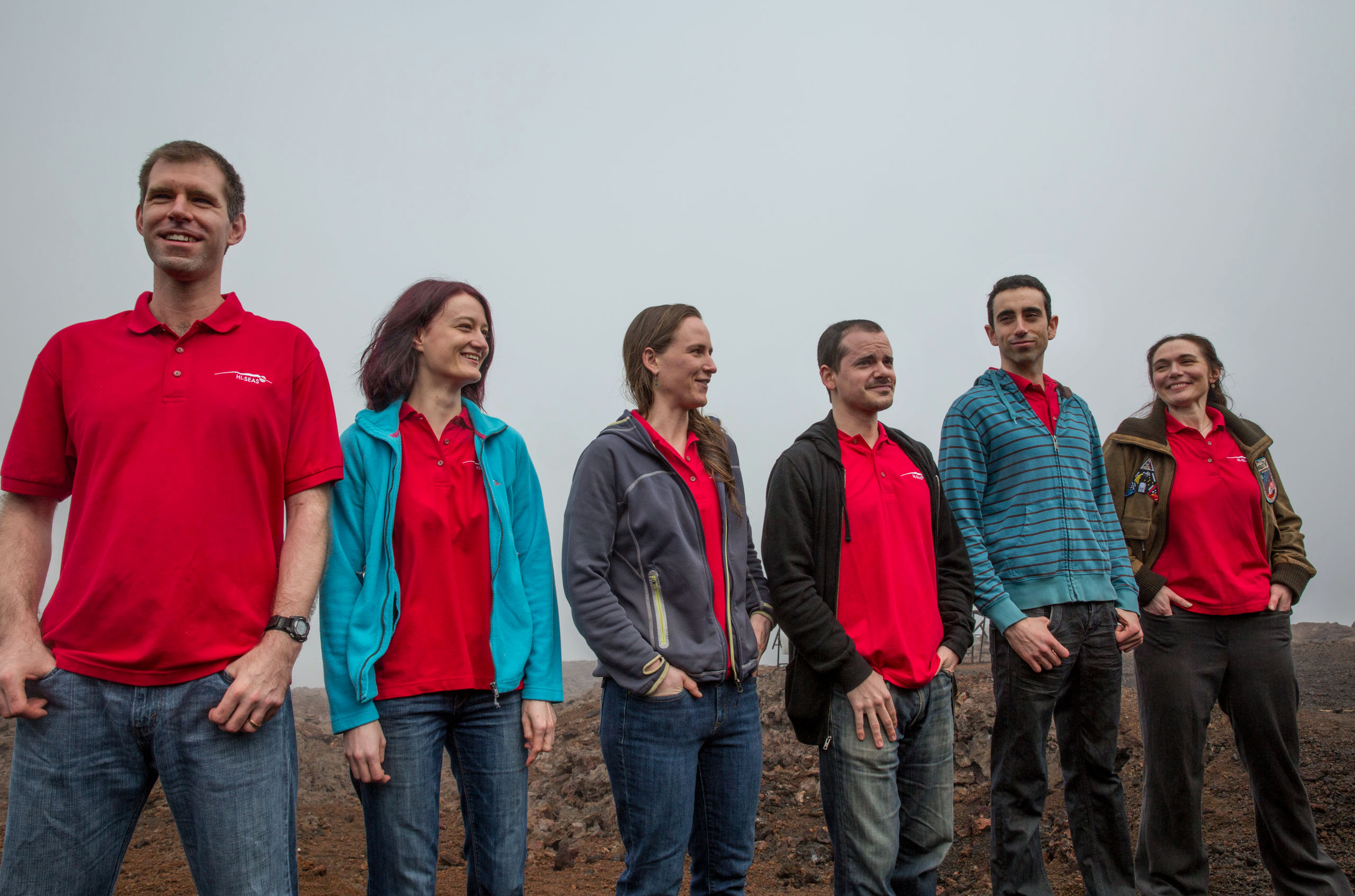 The HI-SEAS Mission 4 crew after returning from 365 days in isolation on Aug. 28, 2016. From left to right: Andrzej Stewart, Christiane Heinicke, Carmel Johnston, Tristan Bassingthwaighte, Cyprien Verseux, Sheyna Gifford.