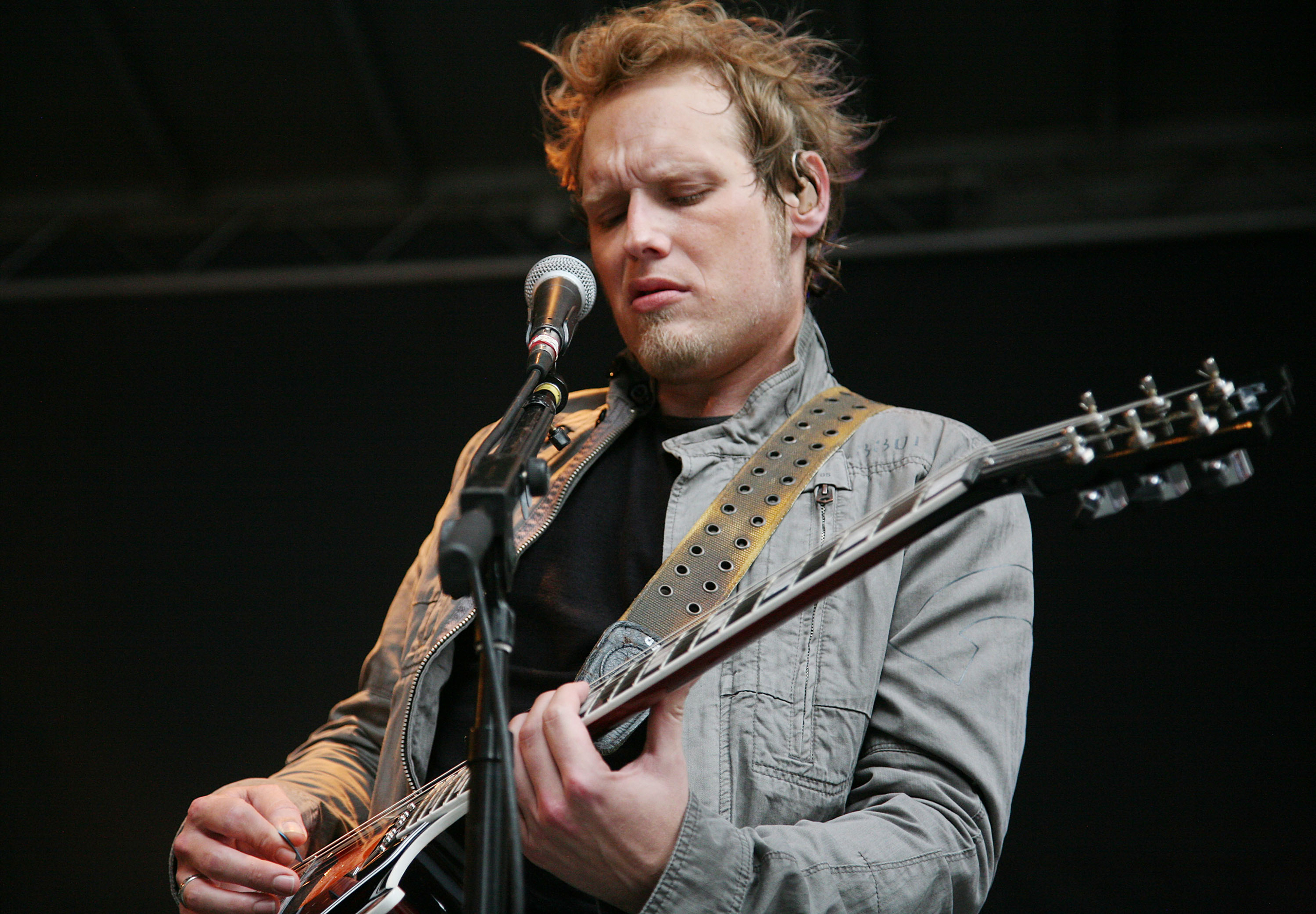 Guitarist Matt Roberts of 3 Doors Down performs on  FOX and Friends  outside of FOX Studios in New York City on July 29, 2011.