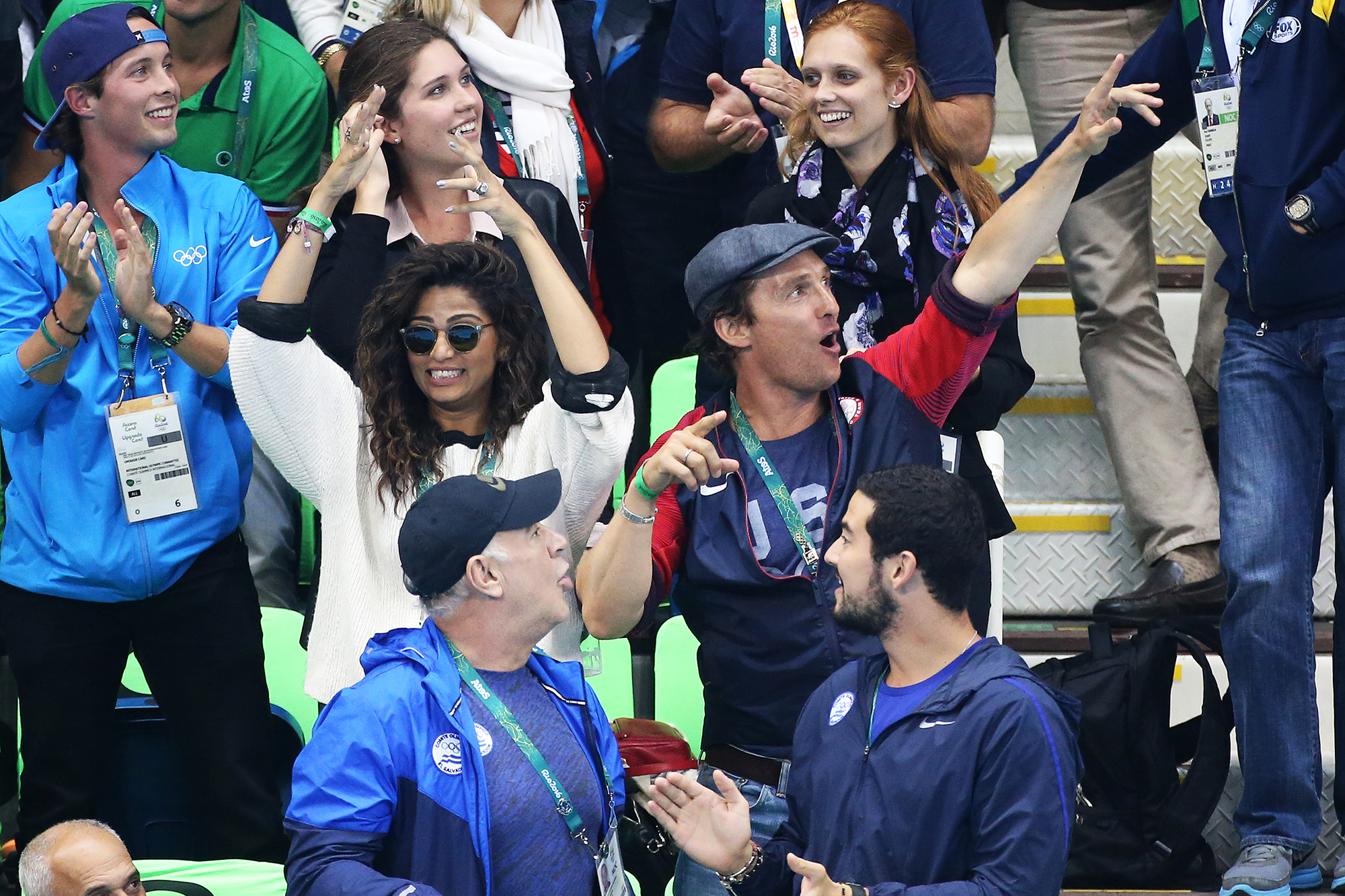 Matthew McConaughey and his wife, Camila Alves, attend the swimming finals on day 5 of the Rio 2016 Olympic Games, on Aug. 10, 2016 in Rio de Janeiro, Brazil.