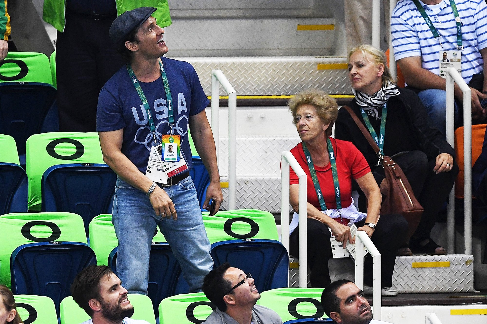 Matthew McConaughey attends swimming finals on Day 3 of the Rio 2016 Olympic Games, on Aug. 8, 2016 in Rio de Janeiro, Brazil.