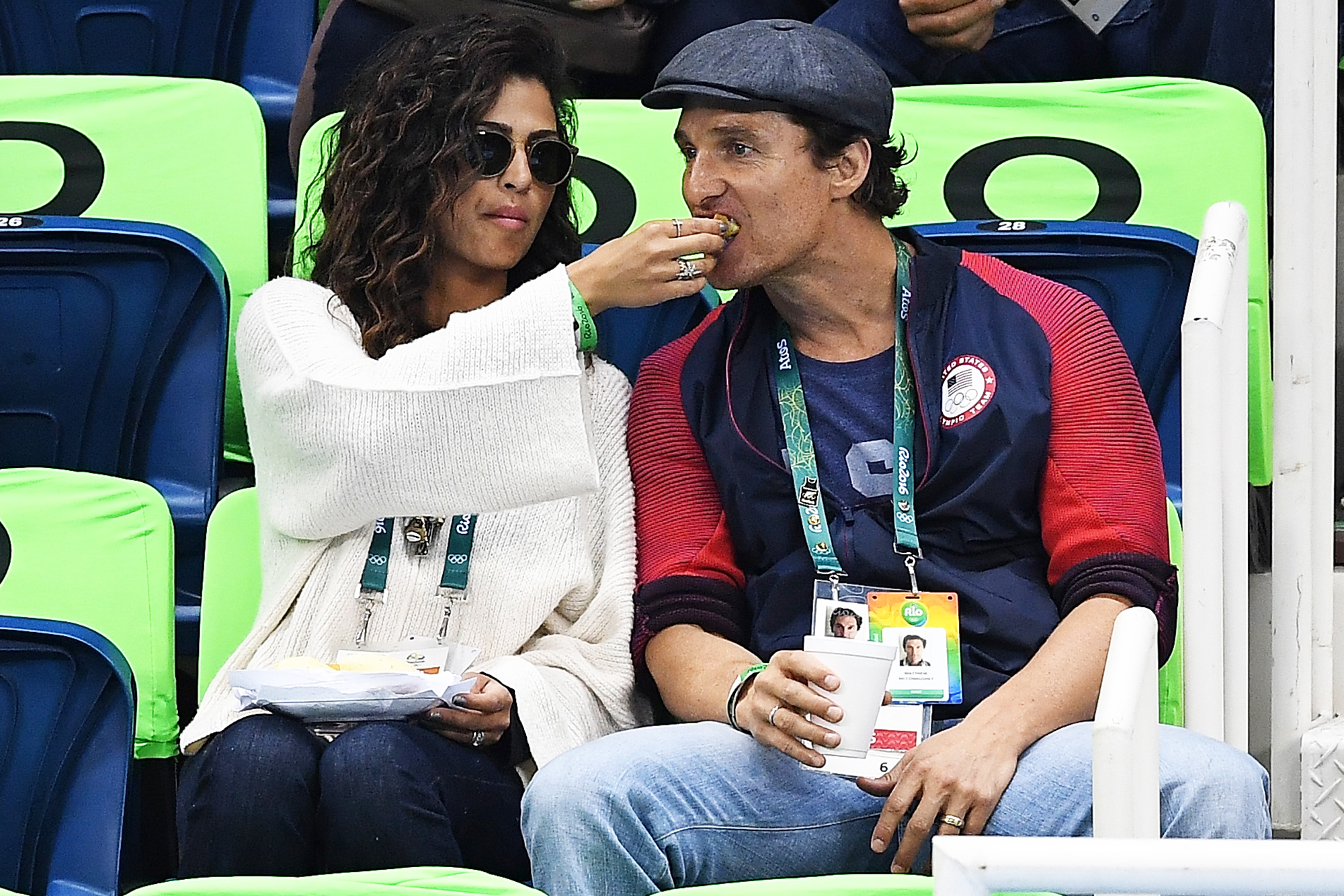 Matthew McConaughey and Camilla Alvez attend swimming semifinals and finals on Day 5 of the Rio 2016 Olympic Games, on Aug. 9, 2016 in Rio de Janeiro, Brazil.