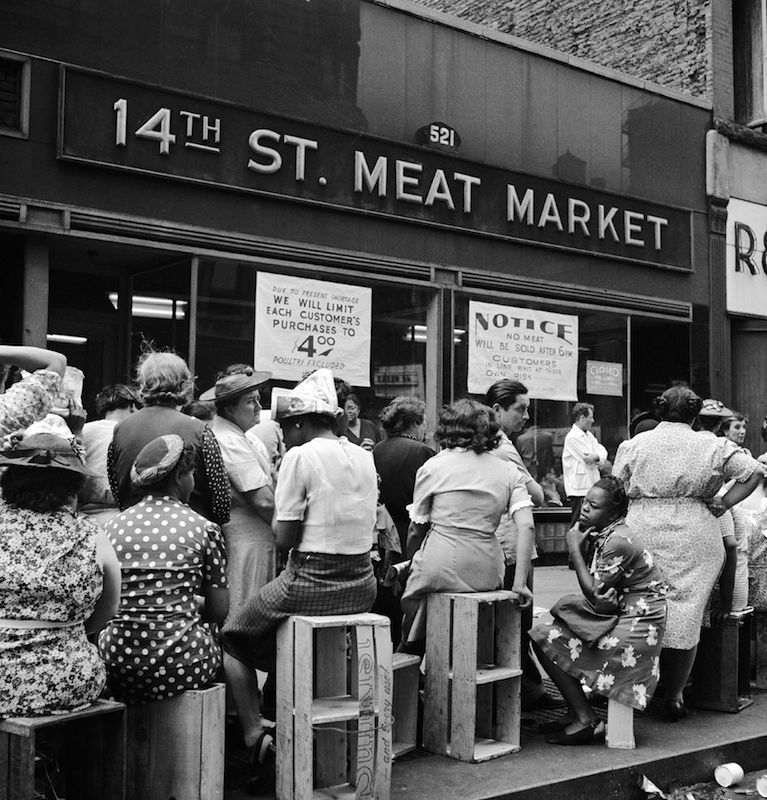 New Yorkers line up outside a meat market on April 7, 1946