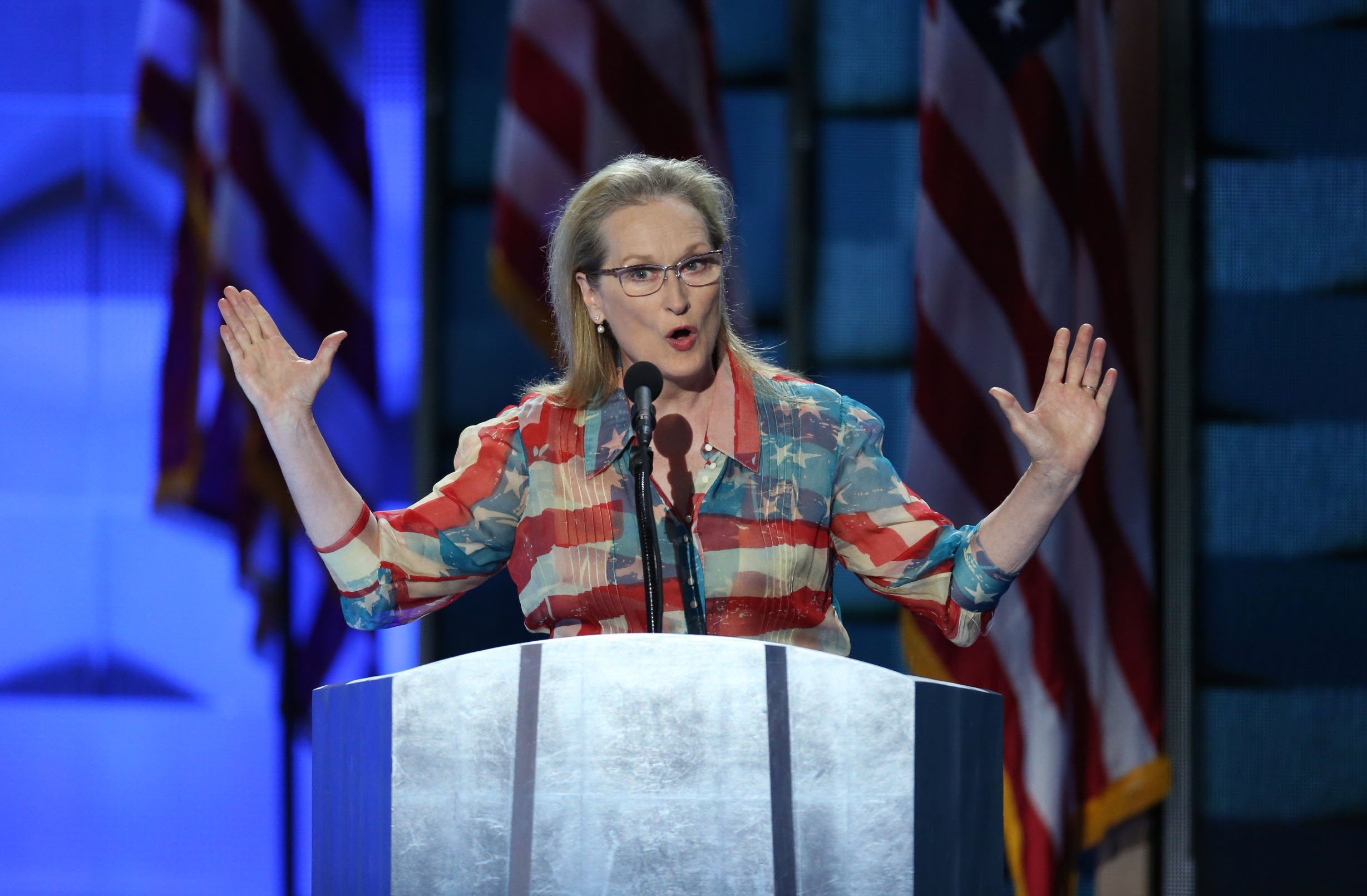 Actress Meryl Streep speaks during the Democratic National Convention (DNC) in Philadelphia, Penn., on July 26, 2016.