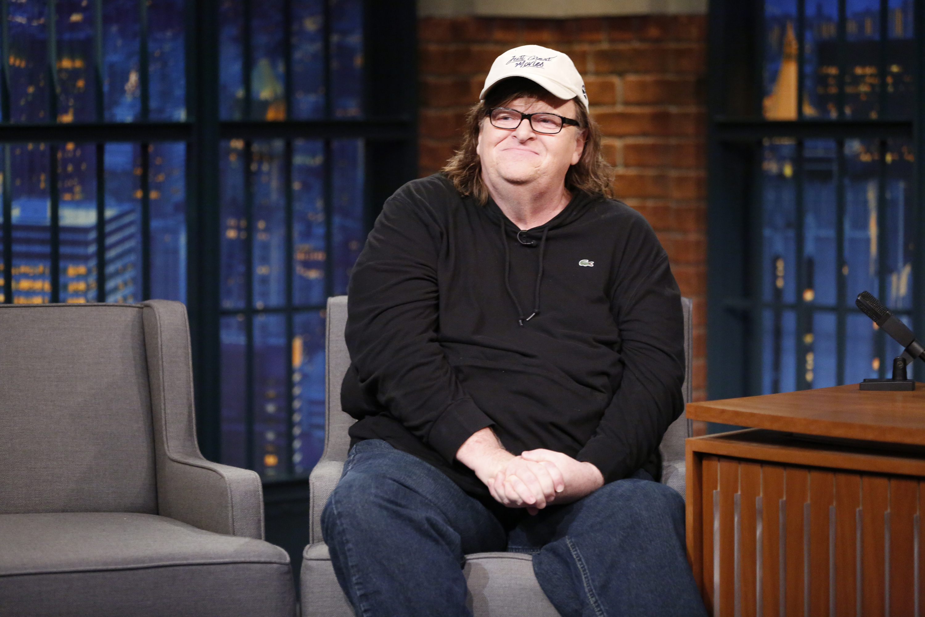 Director Michael Moore during a Late Night With Seth Meyers interview on Aug. 29, 2016.