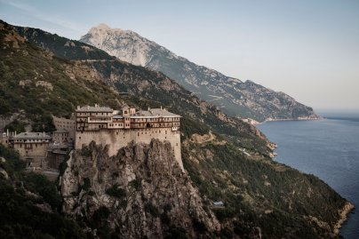 The Eastern Orthodox Monastery of Simonopetra, founded in the 13th century, perched on a cliff above the Aegean Sea in the monastic state of Mount Athos, in northern Greece, May 30, 2016.