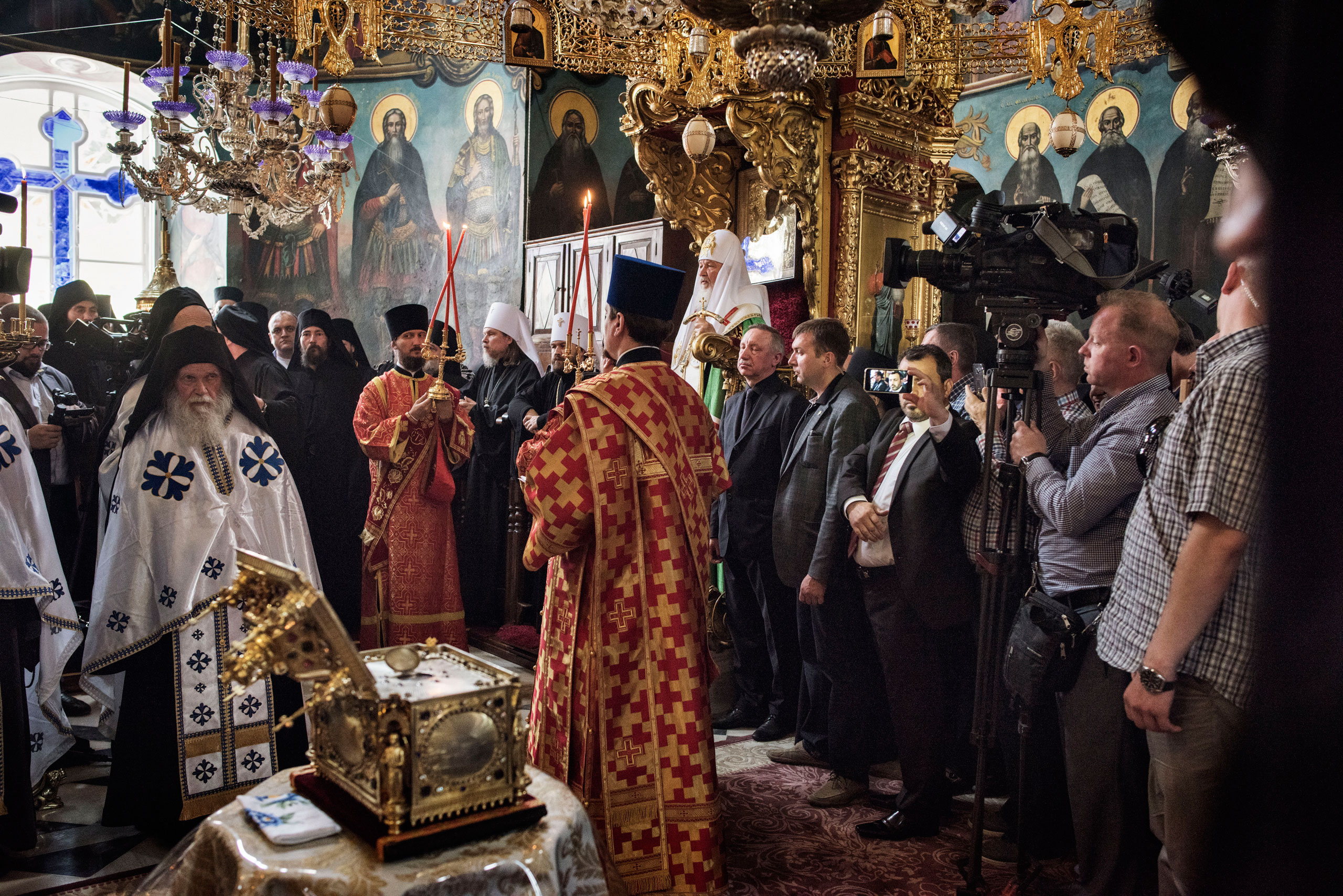 Patriarch Kirill (seated), the head of the Russian Orthodox Church, takes part in a prayer service at the Monastery of St. Panteleimon on Mount Athos, in northern Greece, May 27, 2016. Out of the 20 monasteries that comprise and govern the monastic community of Mount Athos, St. Panteleimon is the only one associated with the Russian Orthodox Church.