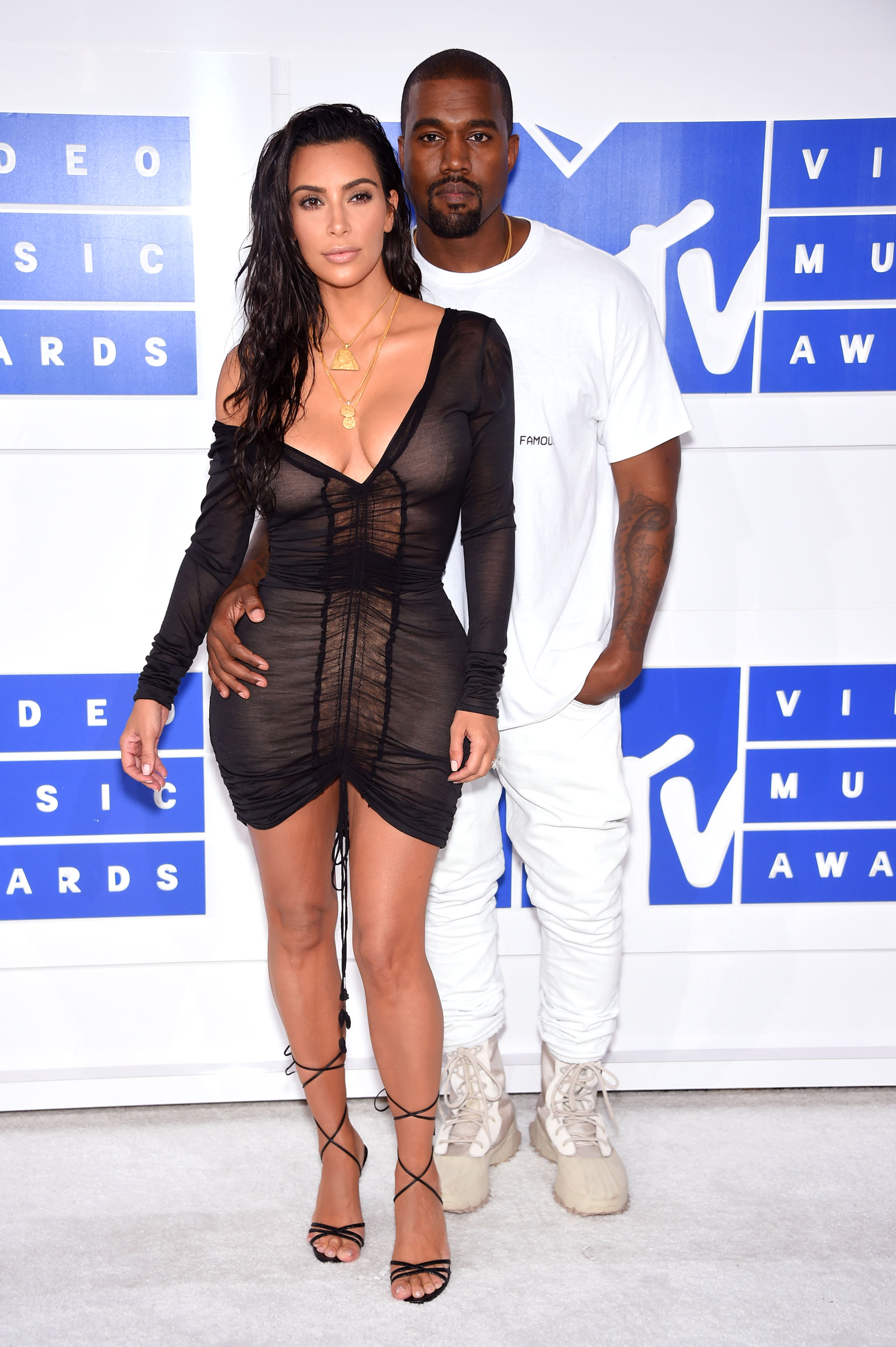 Kim Kardashian and Kanye West attend the 2016 MTV Video Music Awards at Madison Square Garden on Aug. 28, 2016 in New York City.