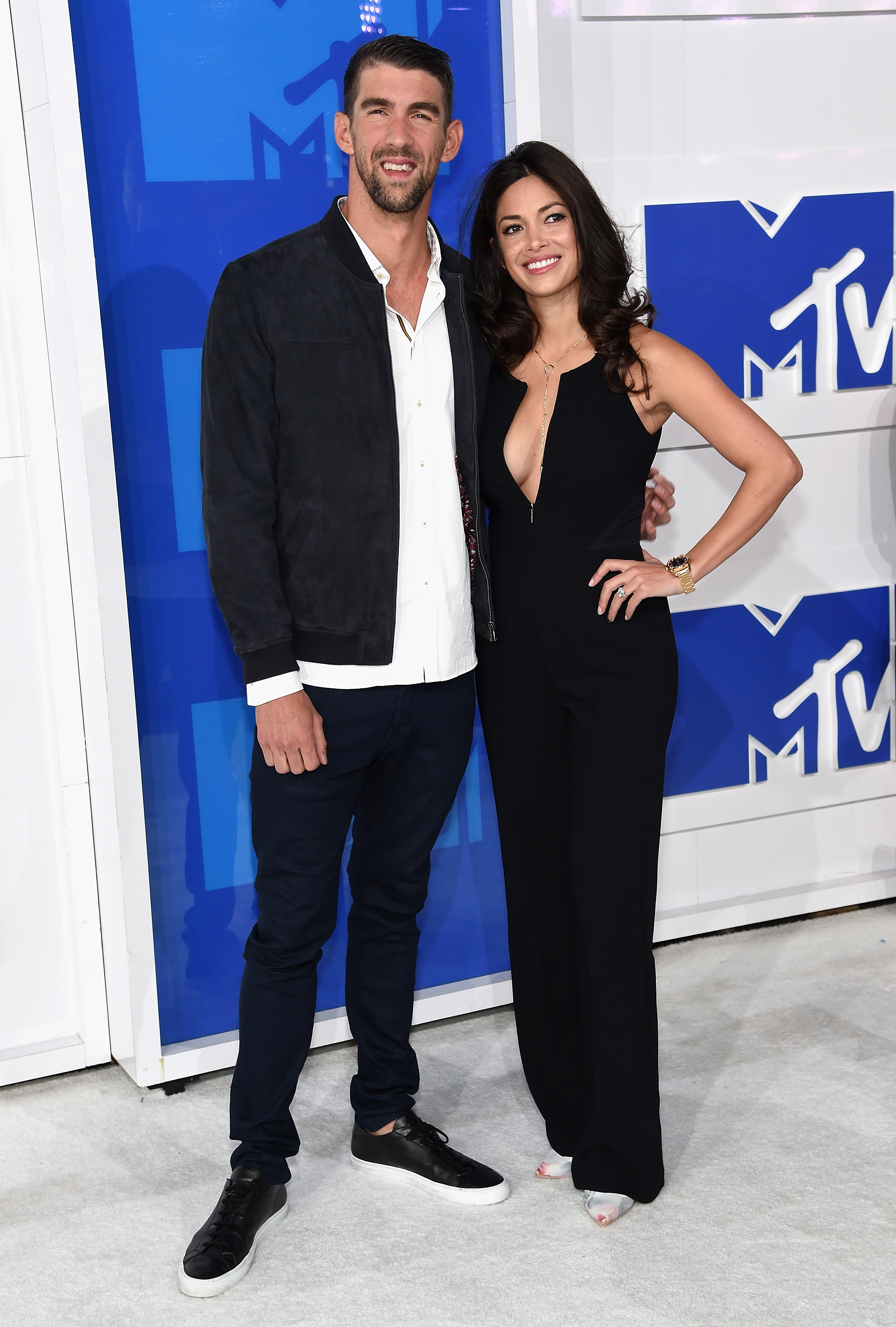 Michael Phelps and Nicole Johnson attend the 2016 MTV Video Music Awards at Madison Square Garden on Aug. 28, 2016 in New York City.
