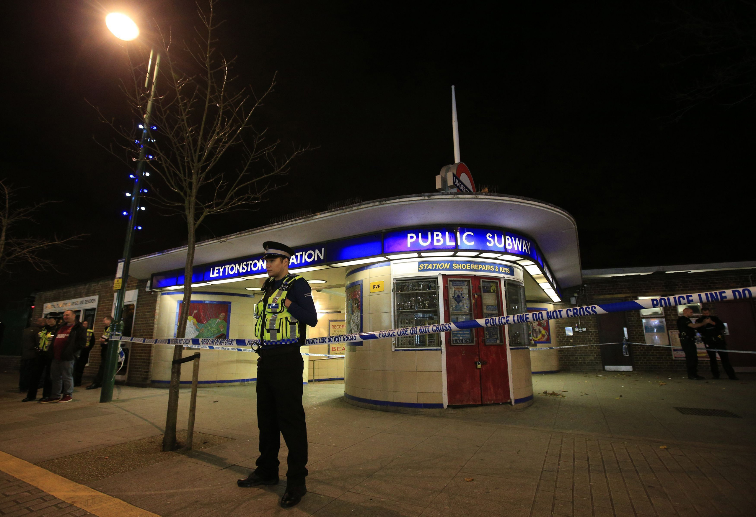 Police cordoning off Leytonstone Underground Station in east London on May 12, 2015. Muhaydin Mire, 30, of Sansom Road, Leytonstone, has been found guilty of trying to behead a random stranger at a Tube station after being inspired by the murder of Fusilier Lee Rigby.