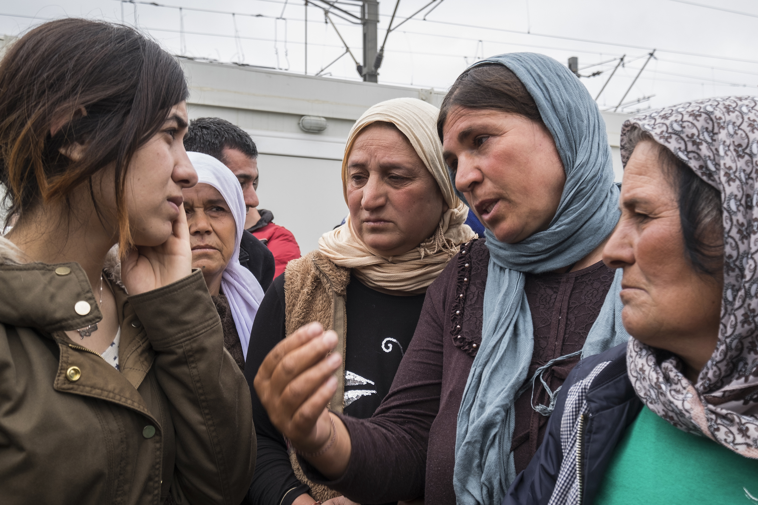 Nadia Murad Basee Taha talks to some of the Yazidi women that are living at the refugee camp near Idomeni, Greece, on April 3, 2016