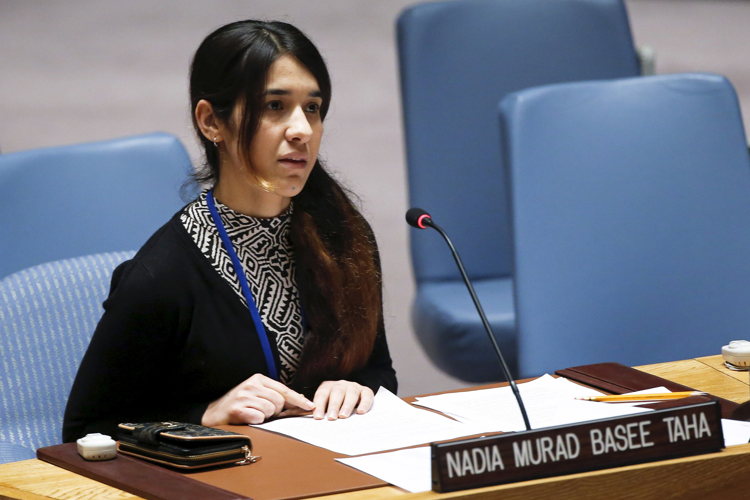 Nadia Murad Basee Taha, a 21-year-old Iraqi woman of the Yezidi minority, speaks to members of the U.N. Security Council at the U.N. headquarters in New York City on Dec. 16, 2015