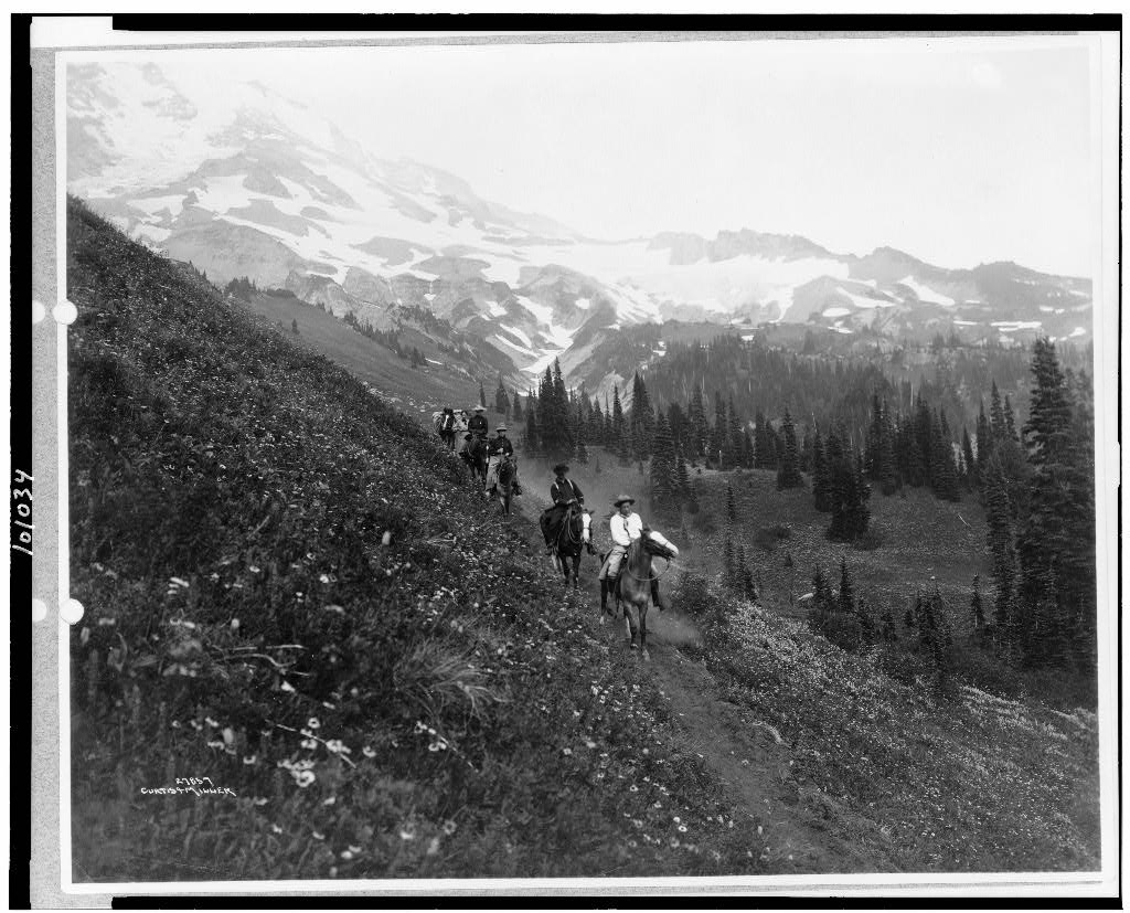 People on horseback, on trail, Van Trump Park, Mt. Rainier National Park, some time between 1911 and 1920