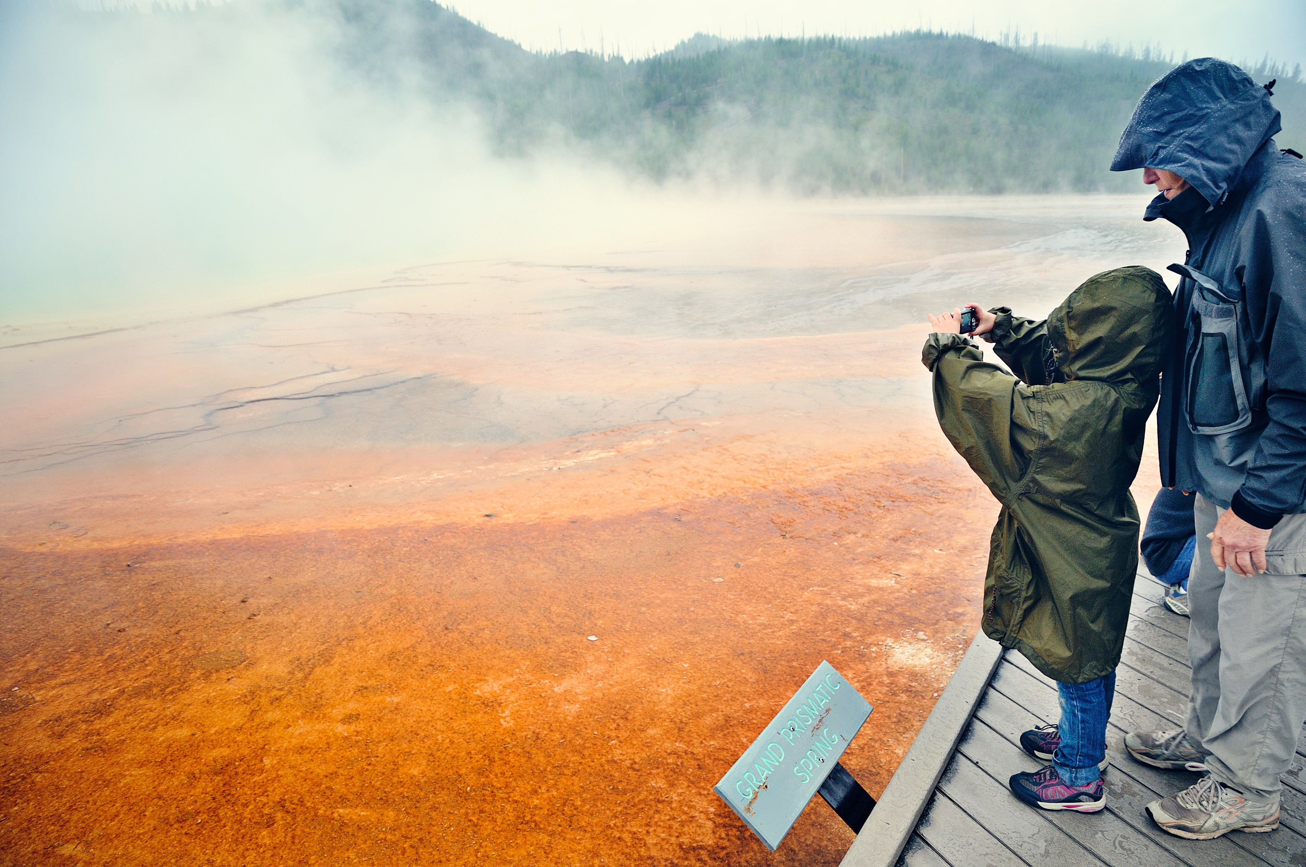 The Grand Prismatic Spring in Yellowstone is a magnet for young photographers