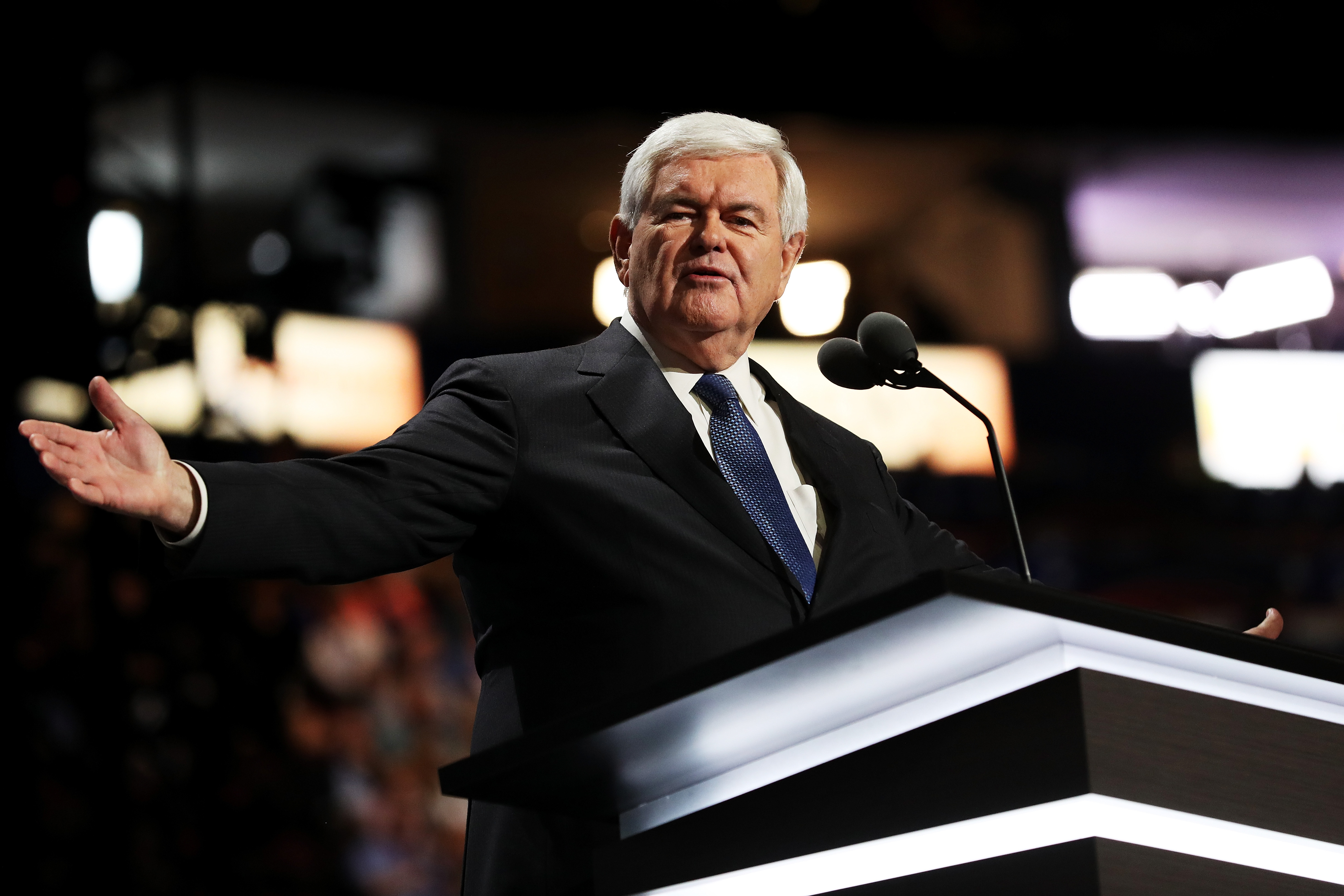 Former Speaker of the House Newt Gingrich delivers a speech on the third day of the Republican National Convention on July 20, 2016 at the Quicken Loans Arena in Cleveland, Ohio.